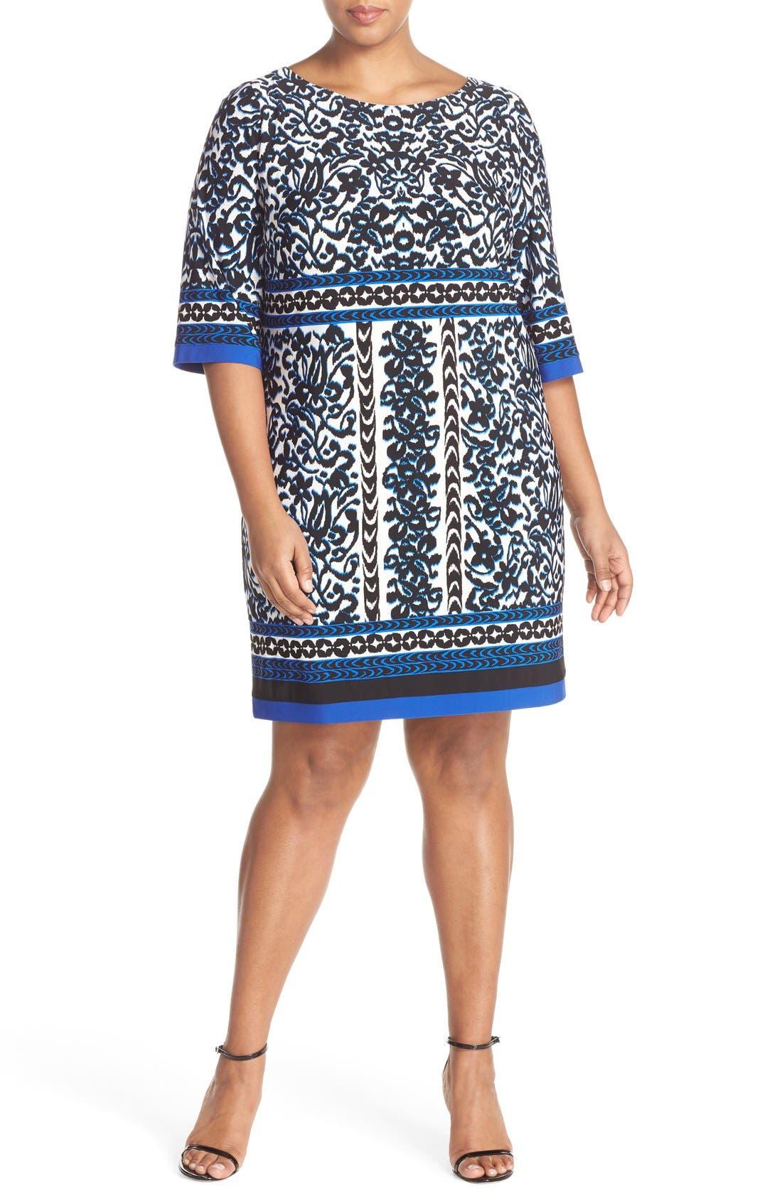 Main Image - Eliza J Border Print Elbow Sleeve Shift Dress (Plus Size)