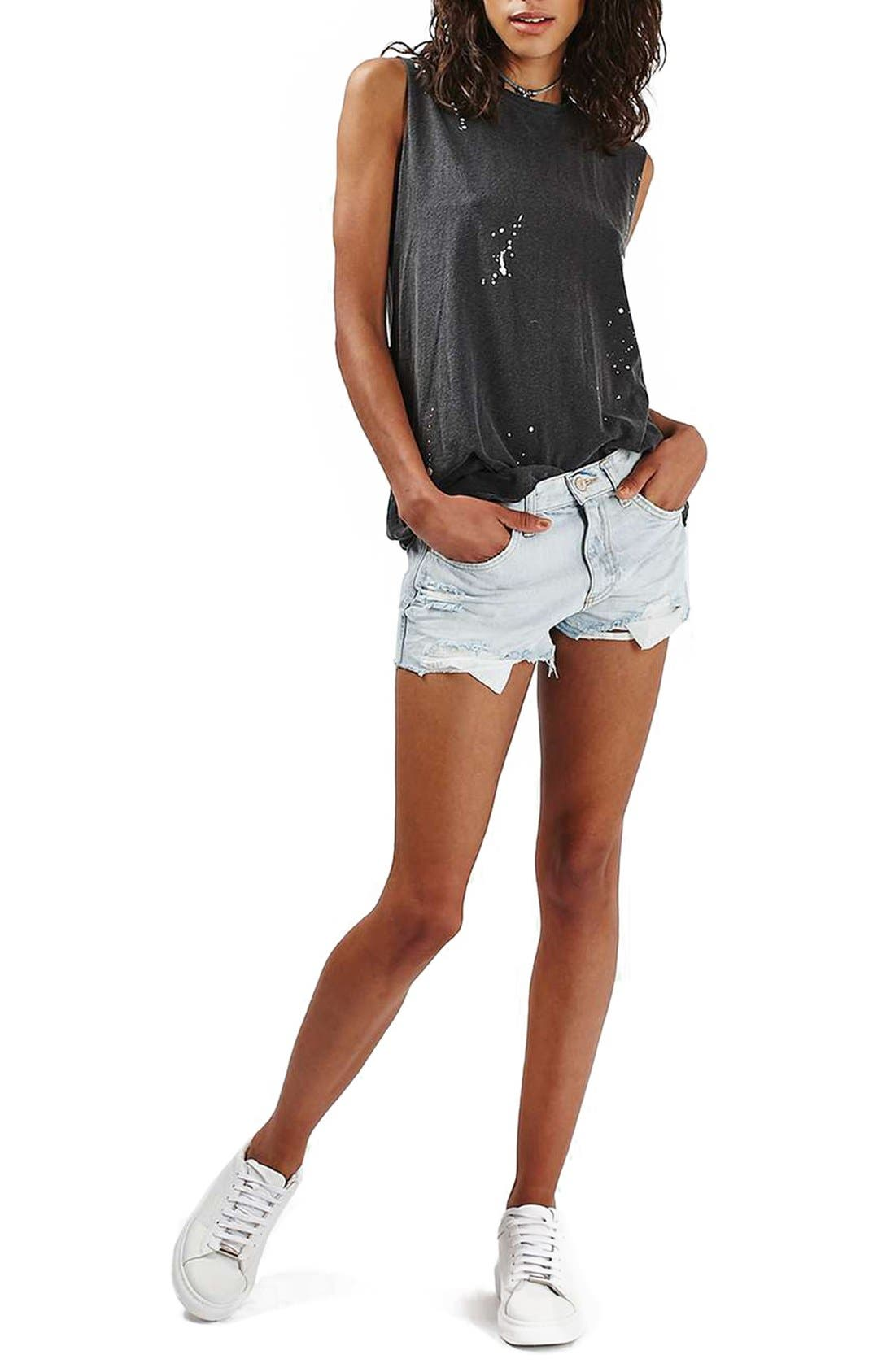 Alternate Image 2  - Topshop 'Rosa' Cutoff Denim Shorts (Petite)