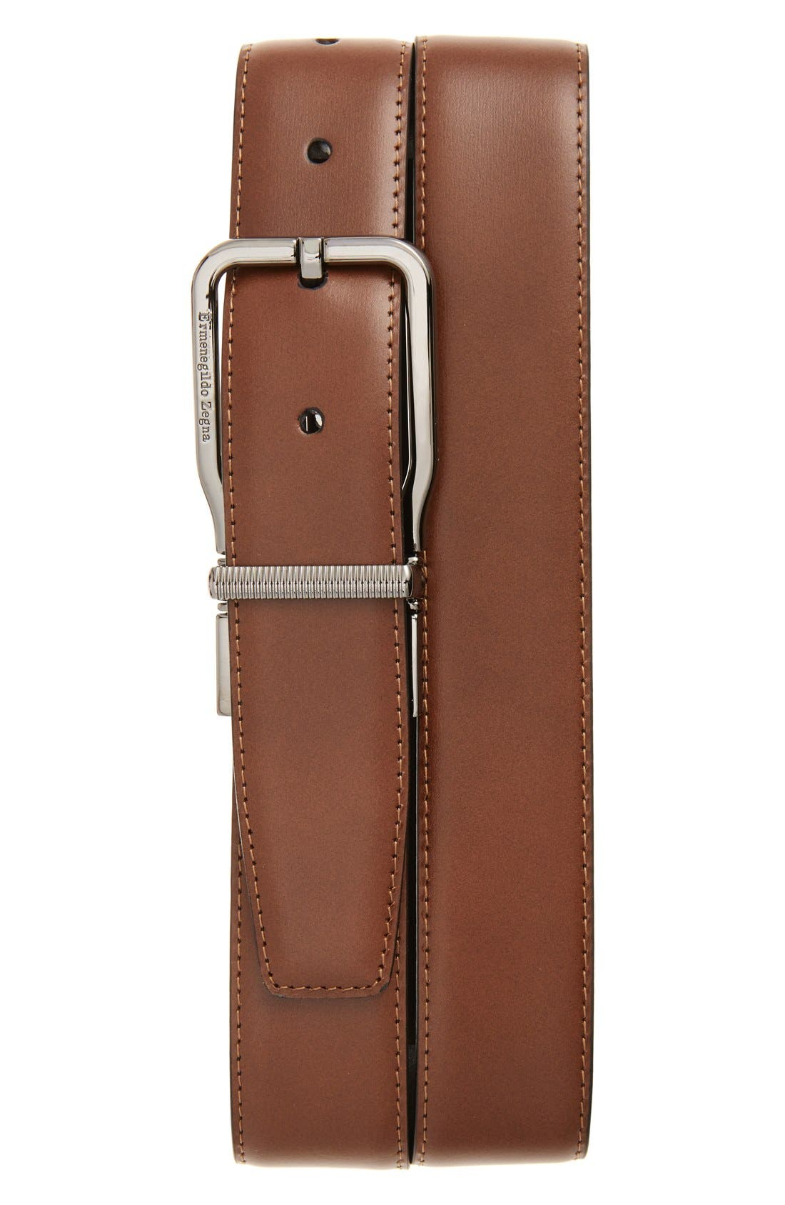 ERMENEGILDO ZEGNA Reversible Calfskin Leather Belt