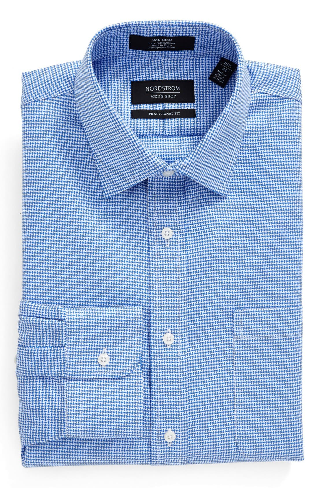 NORDSTROM MEN'S SHOP Traditional Fit Non-Iron Micro Houndstooth