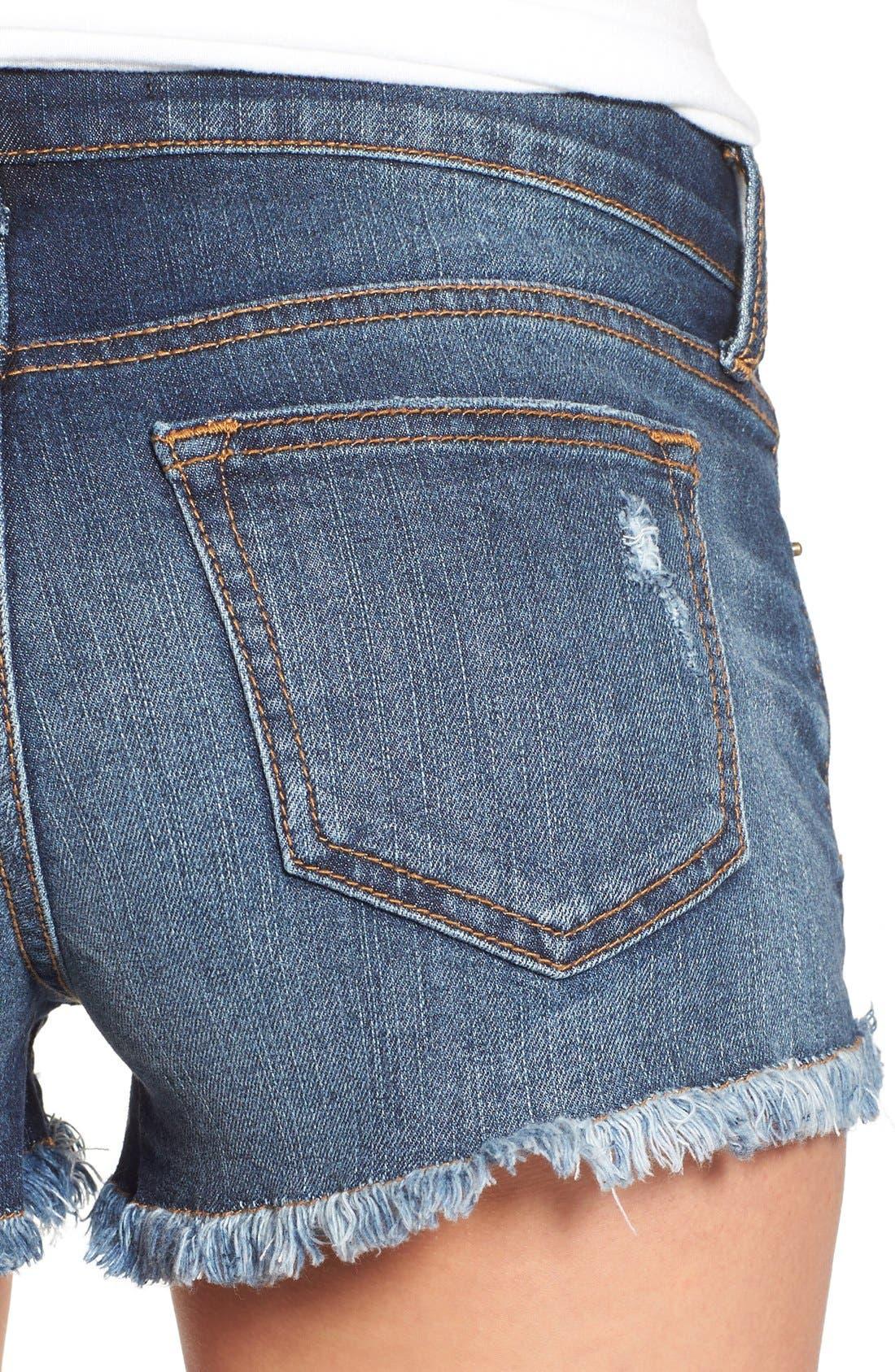 Alternate Image 4  - SP Black Plaid Pocket Cutoff Denim Shorts