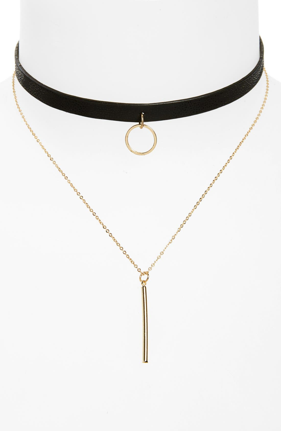 Alternate Image 1 Selected - Loren Olivia Faux Leather Choker Double Strand Bar Necklace
