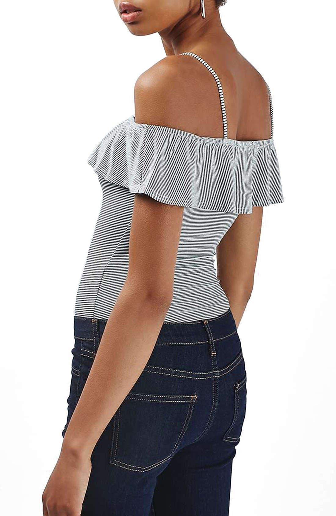 Alternate Image 3  - Topshop Stripe Bardot Bodysuit