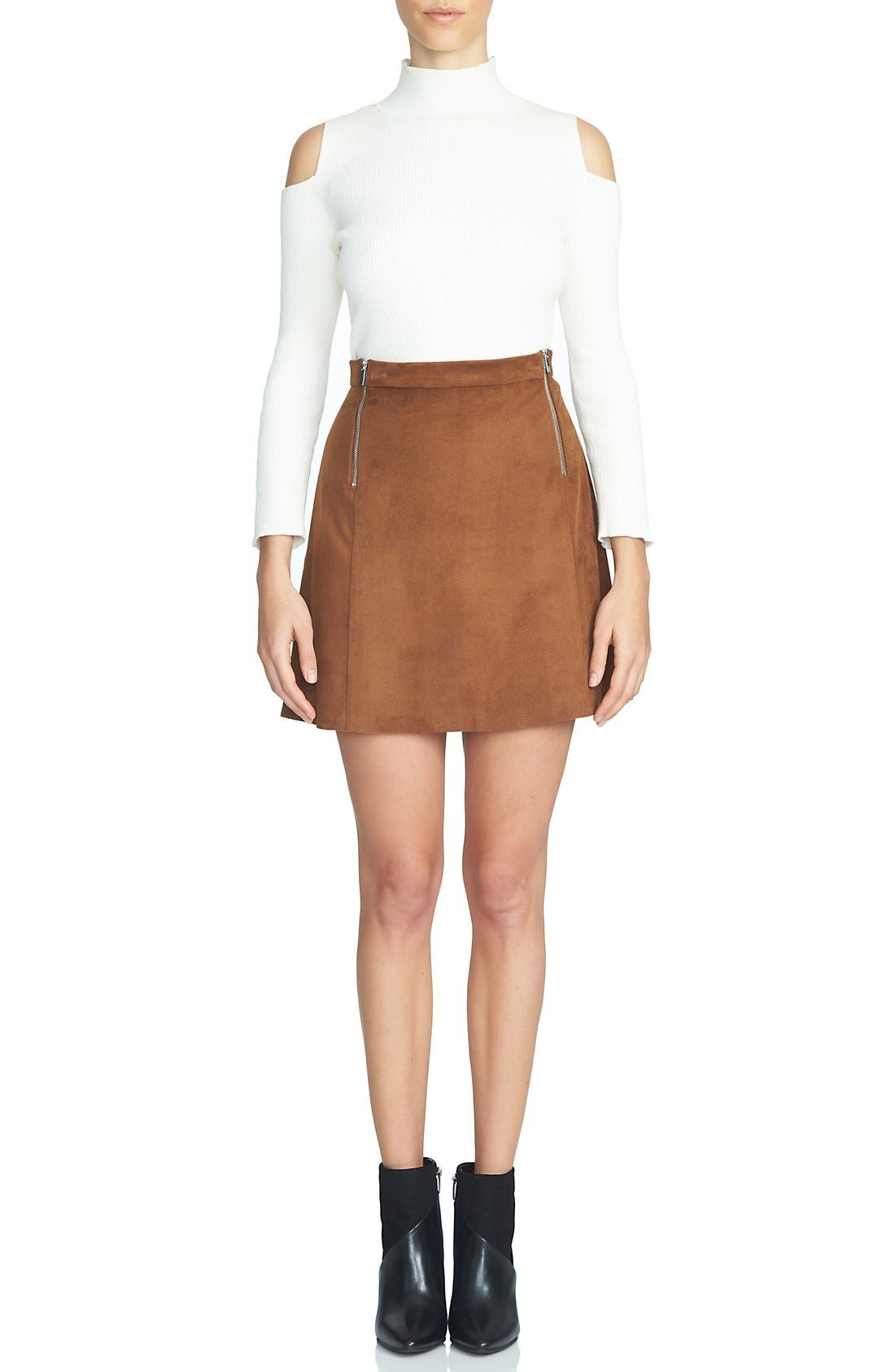 Alternate Image 1 Selected - 1.STATE Faux Suede A-Line Miniskirt