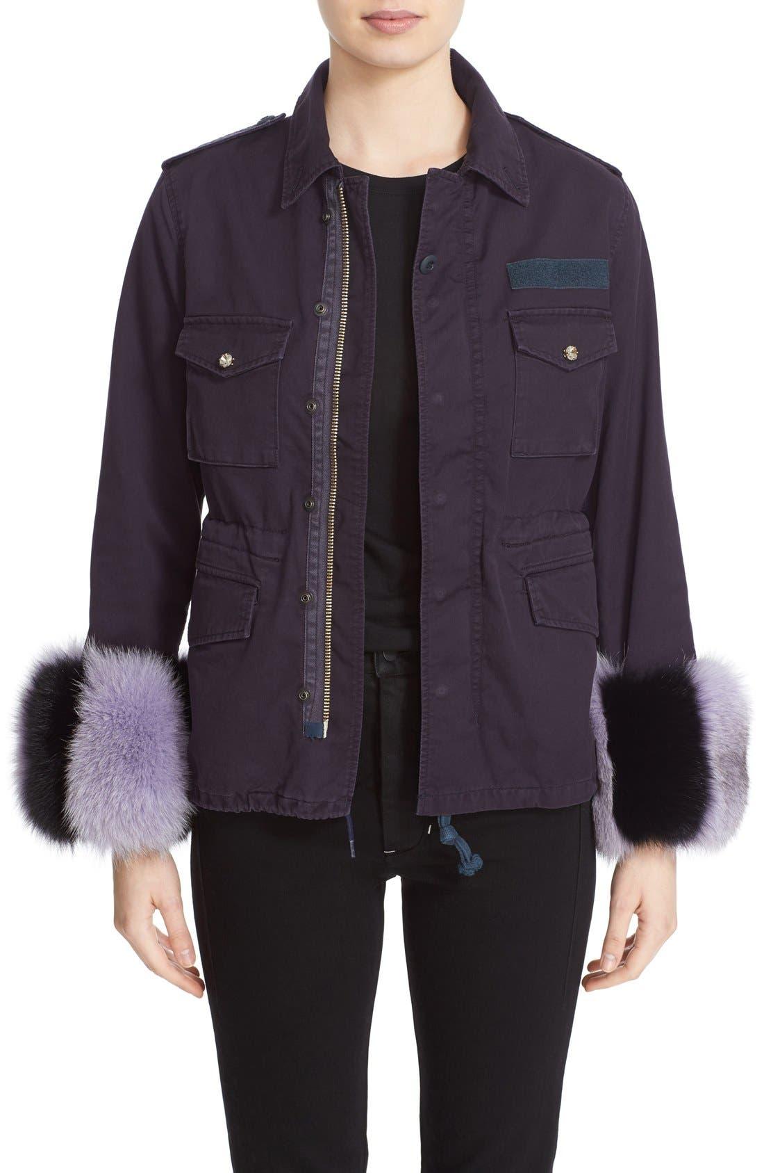 Tu es mon TRÉSOR Military Jacket with Genuine Fox Fur Cuffs