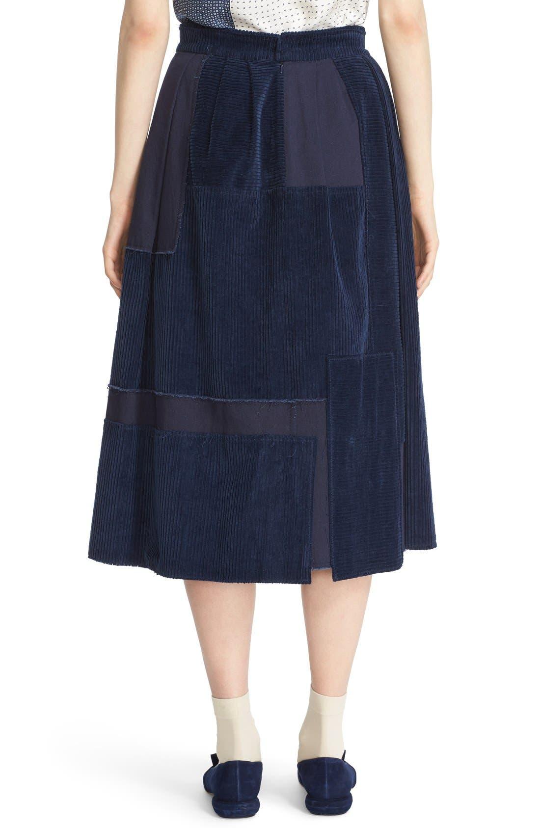 Alternate Image 2  - steventai Corduroy & Denim Patchwork Midi Skirt