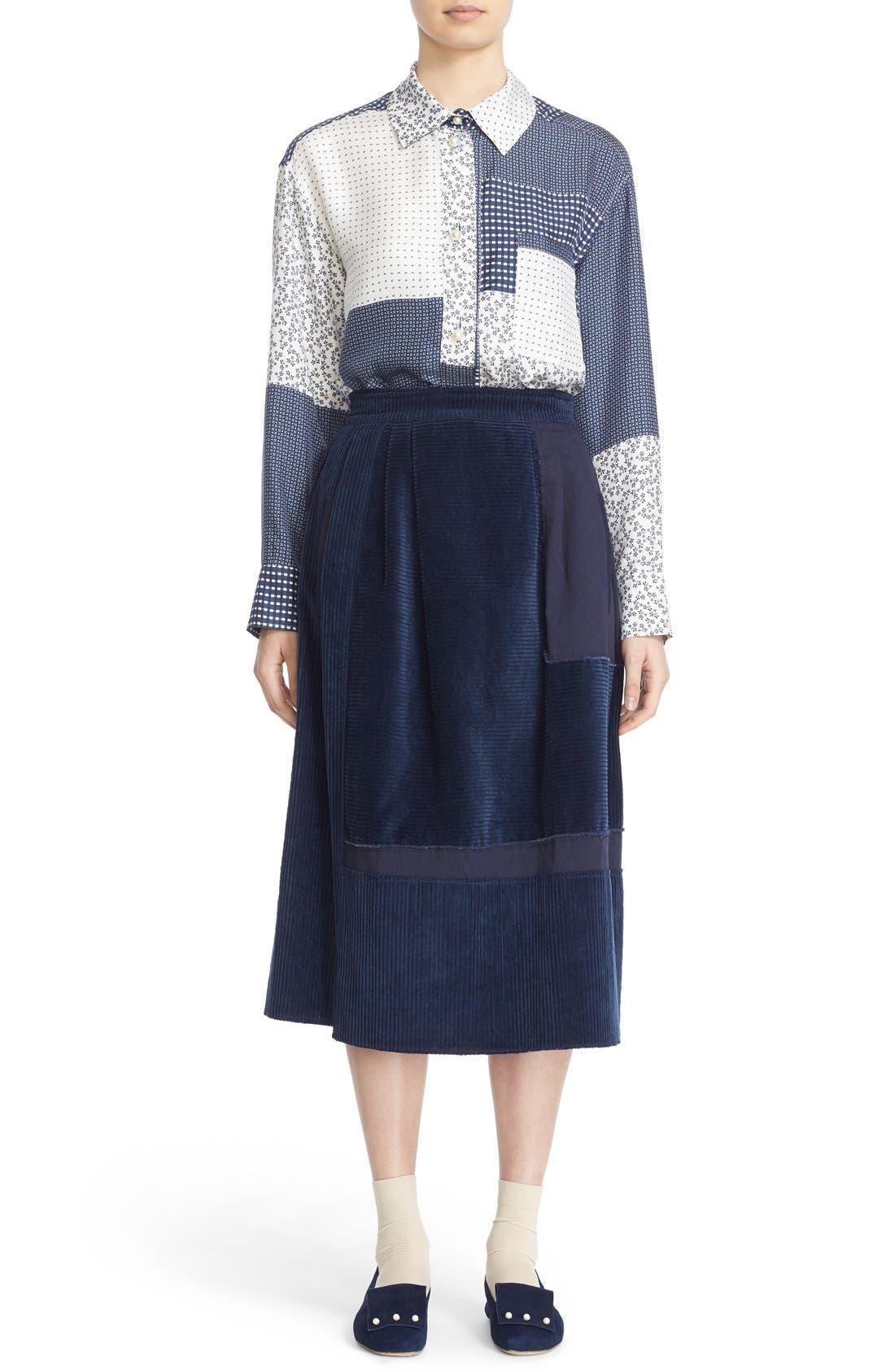 Alternate Image 7  - steventai Corduroy & Denim Patchwork Midi Skirt