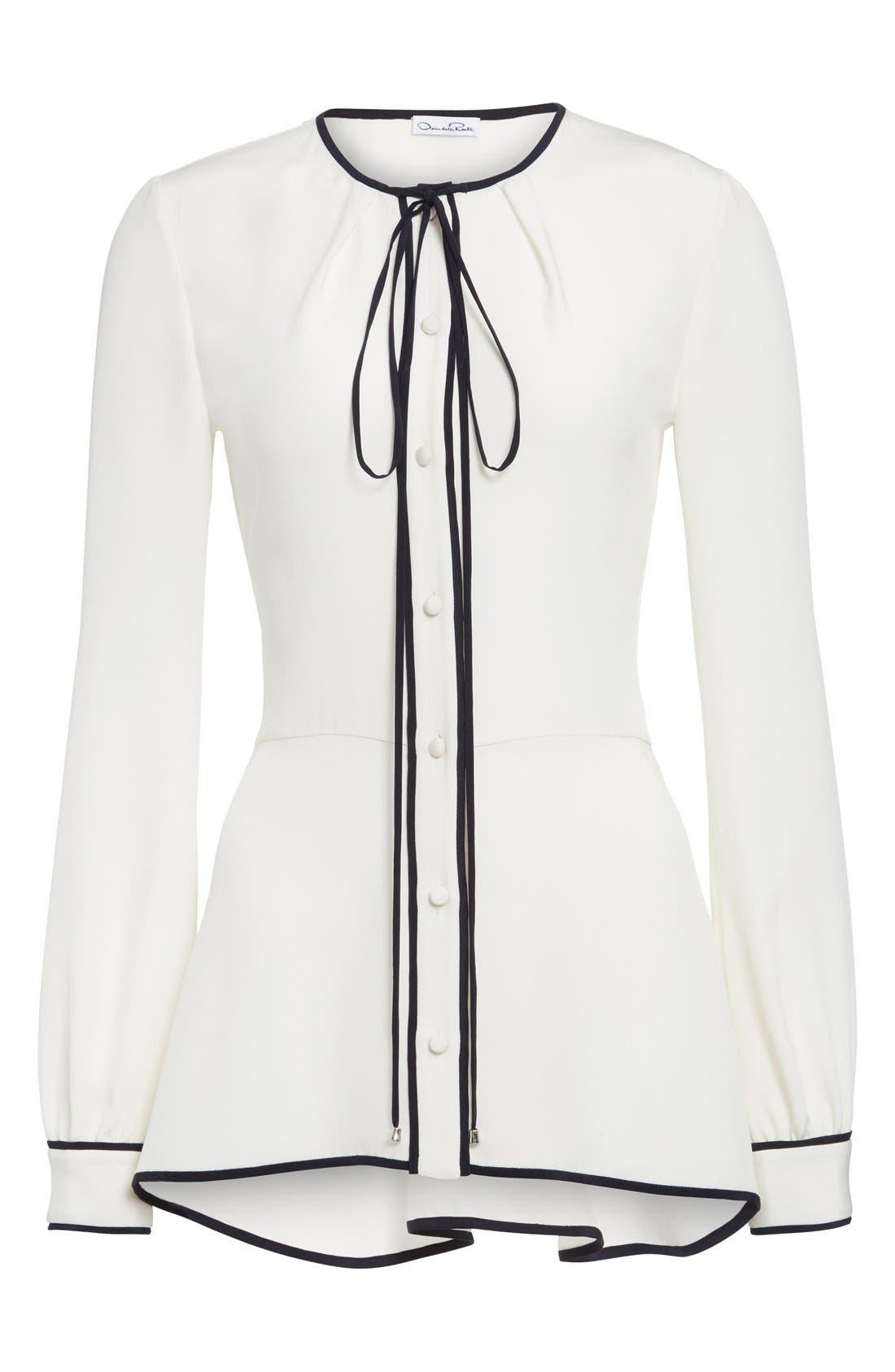 Alternate Image 4  - Oscar de la Renta Tie Neck Silk Blouse