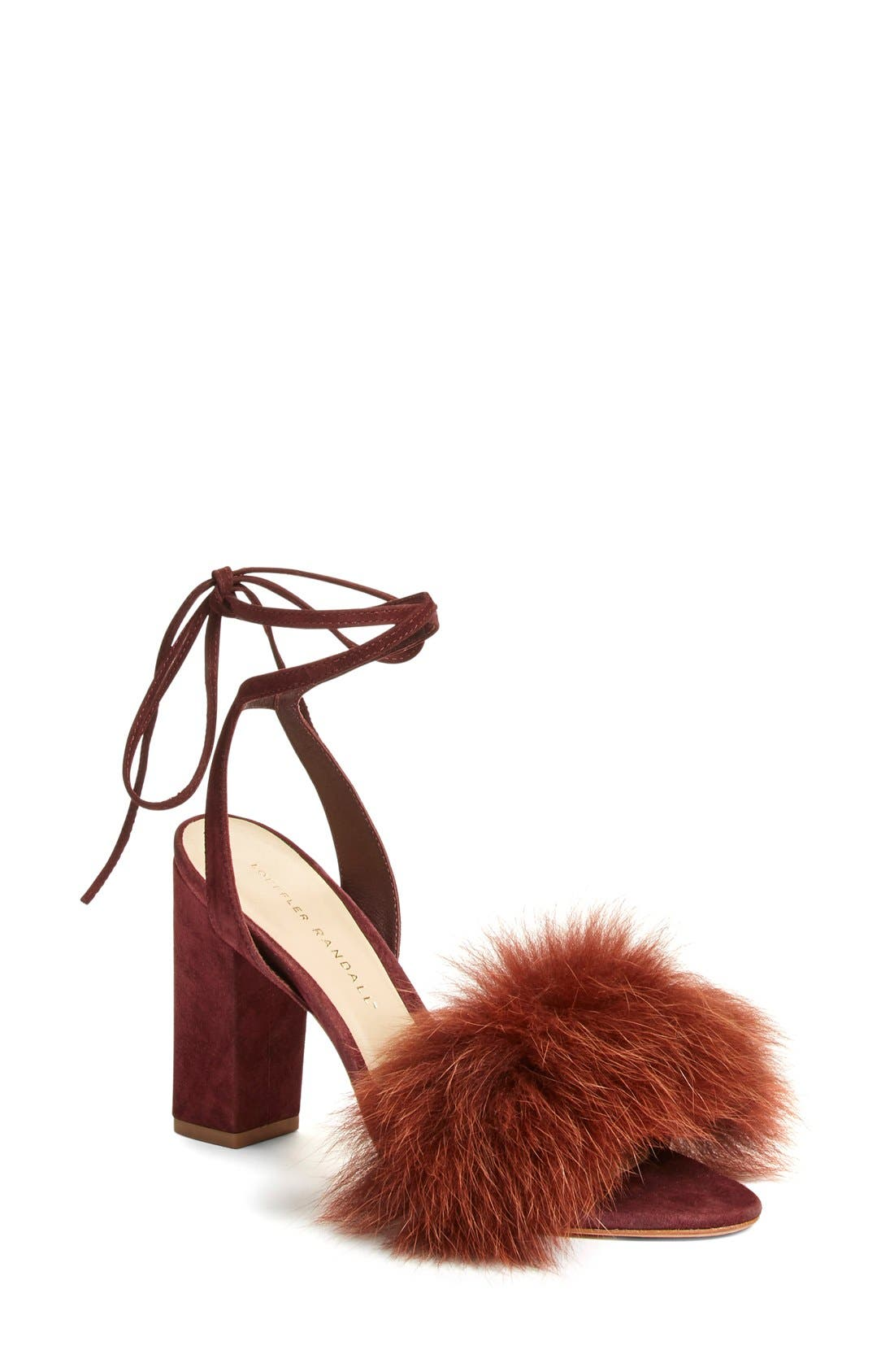 Alternate Image 1 Selected - Loeffler Randall 'Nicolette' Genuine Fox Fur Trim Sandal (Women)