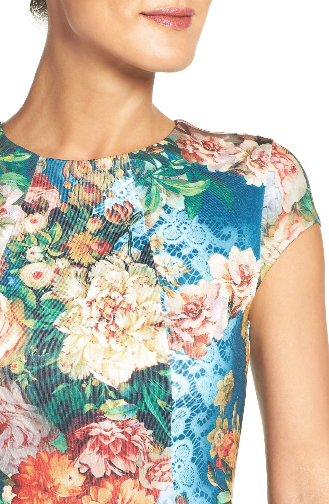 Alternate Image 4  - ECI Floral Scuba Fit & Flare Midi Dress