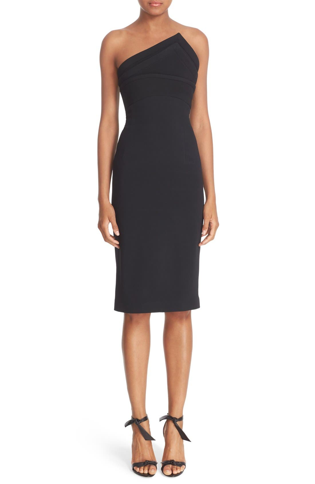 BRANDON MAXWELL 'Cady' Triangular Neck Strapless Crepe Sheath