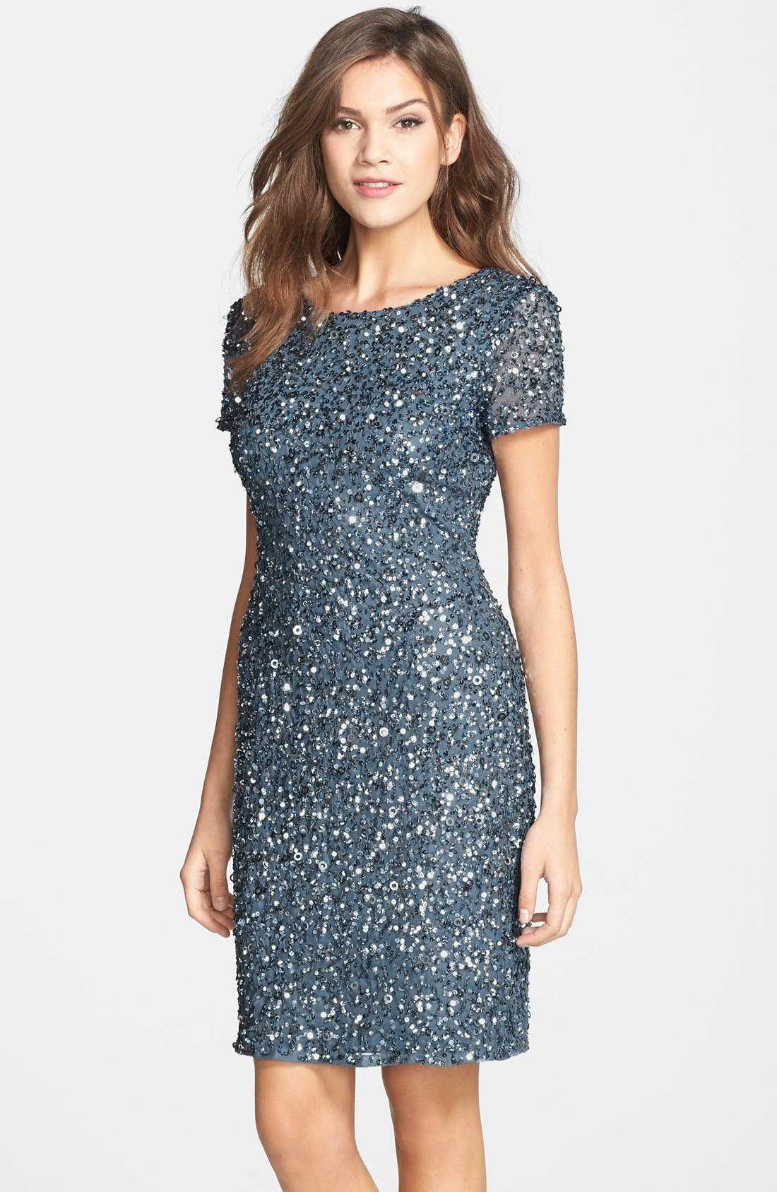 Alternate Image 1 Selected - Adrianna Papell Sequin Mesh Sheath Dress (Regular & Petite)