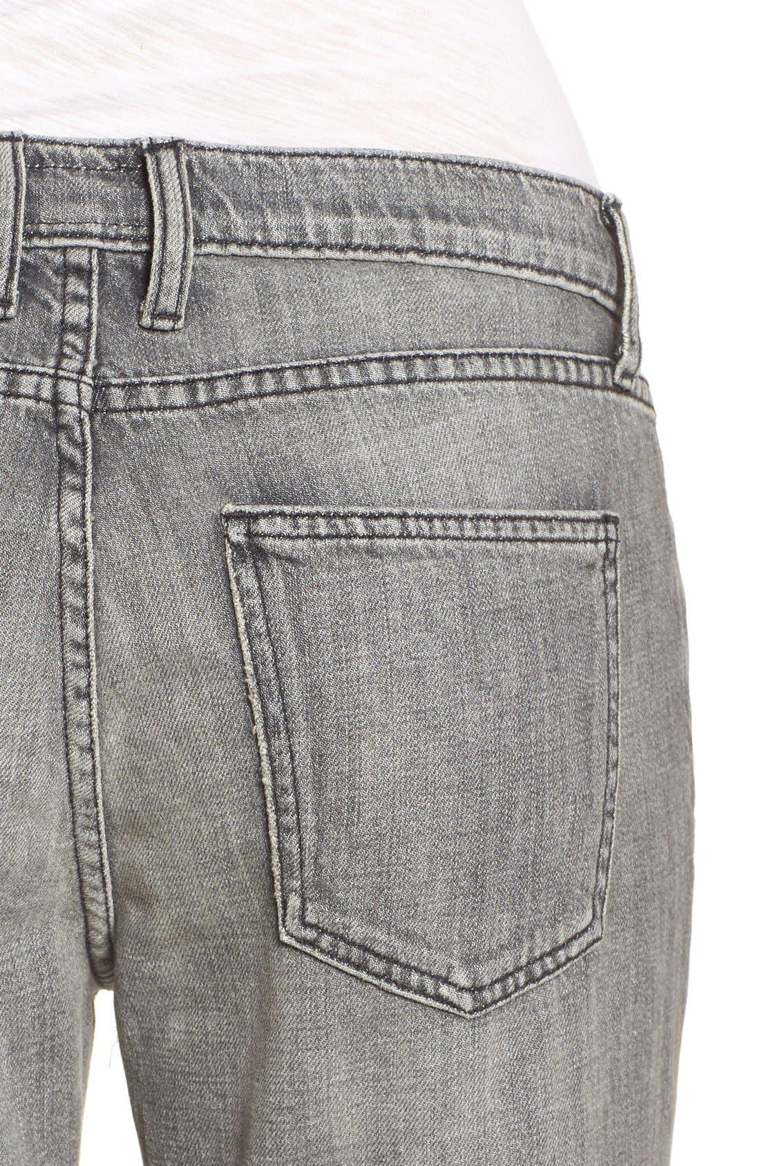 Alternate Image 5  - Current/Elliott 'The Fling' Boyfriend Jeans (Metal Washed Black)