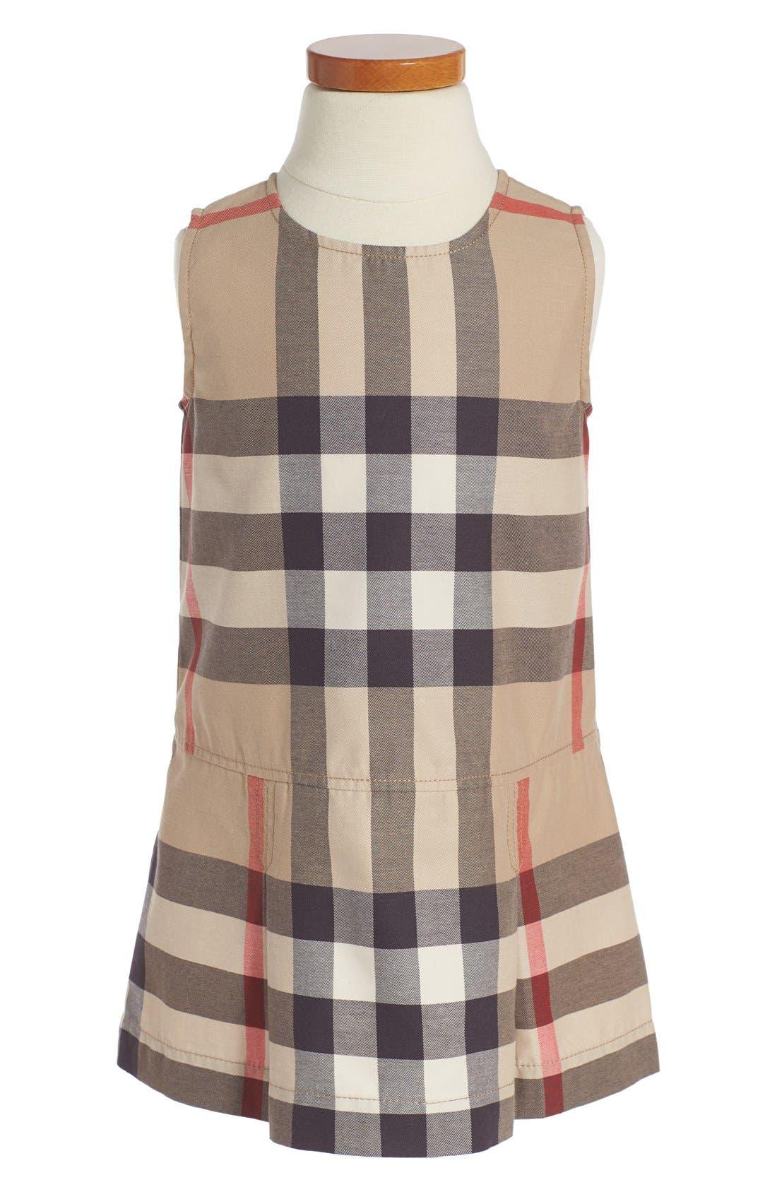 BURBERRY 'Mini Dawny' Sleeveless Check Print Dress