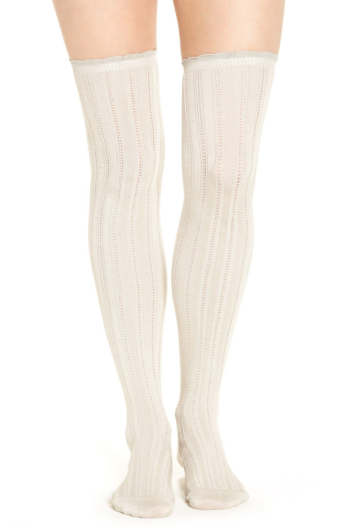 Main Image - Free People 'All For One' Pointelle Knit Over The Knee Socks