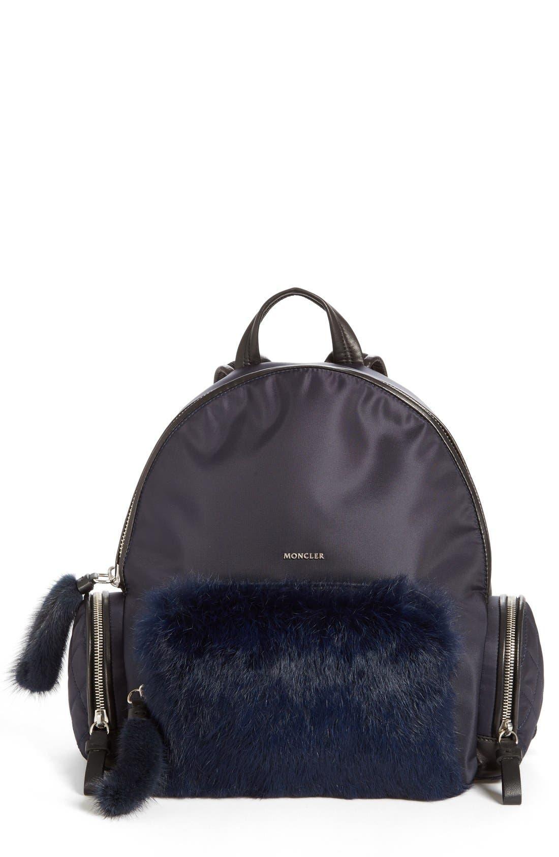 Moncler 'Florine' Genuine Rabbit Fur Trim Backpack