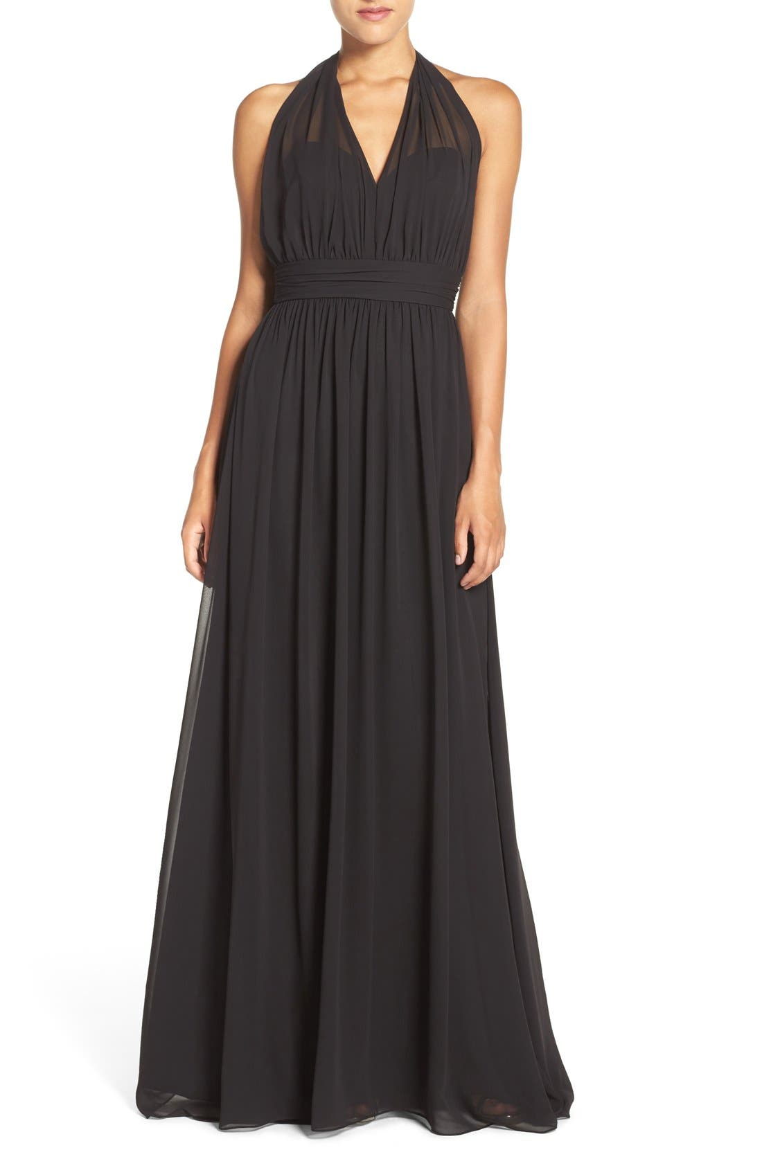 Hayley Paige Occasions Ruched Waist Chiffon Halter Gown