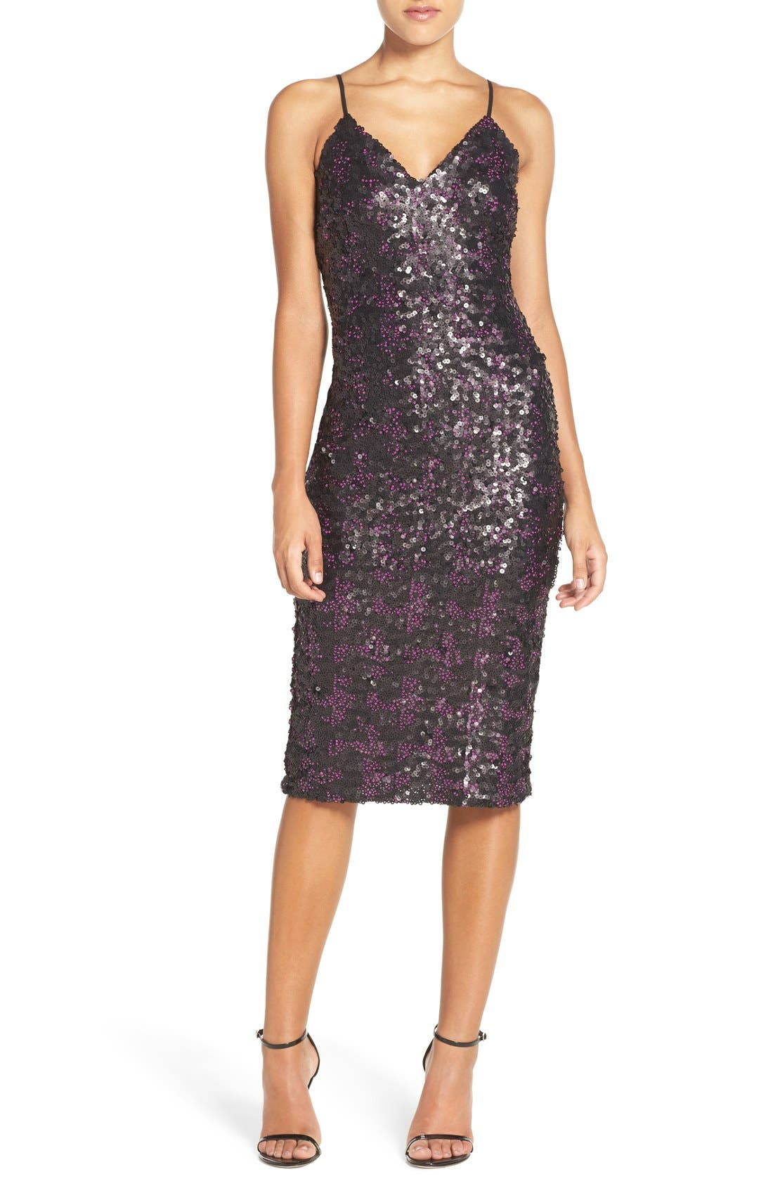 Alternate Image 1 Selected - Dress the Population 'Nina' Sequin Midi Dress