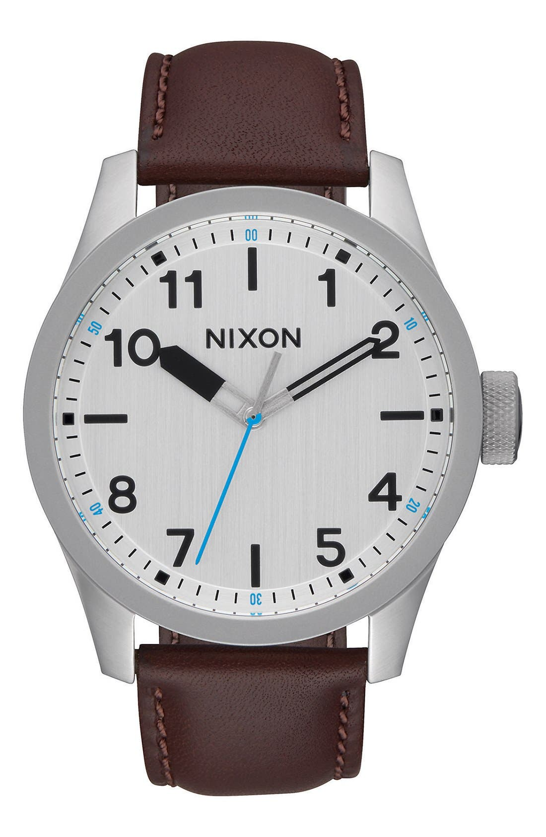 Nixon 'Safari' Leather Strap Watch, 43mm