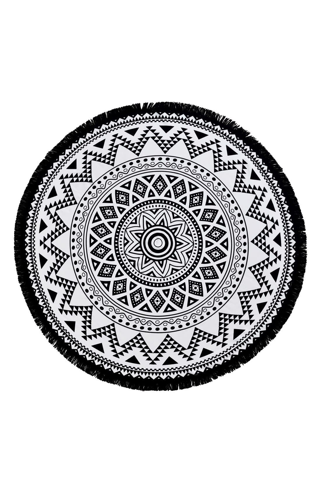 Alternate Image 1 Selected - Linum Home Textiles 'Kilim' Turkish Pestemal Round Beach Towel