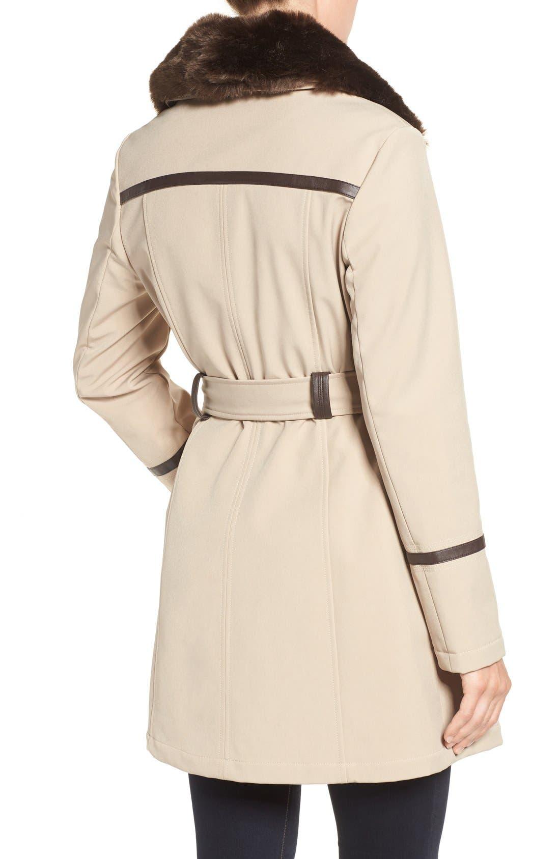 Alternate Image 2  - Via Spiga Detachable Faux Fur Collar Belted Soft Shell Coat