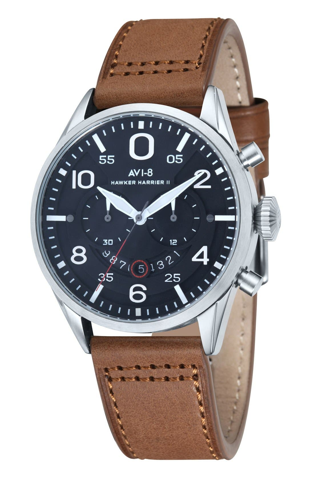 AVI-8 'Hawker Harrier II' Chronograph Leather Strap Watch, 46mm