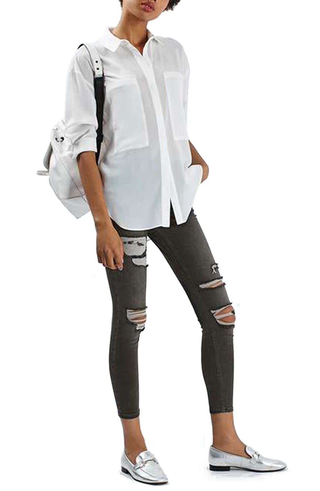 Alternate Image 2  - Topshop 'Jamie' Washed Super Ripped Skinny Jeans (Petite)