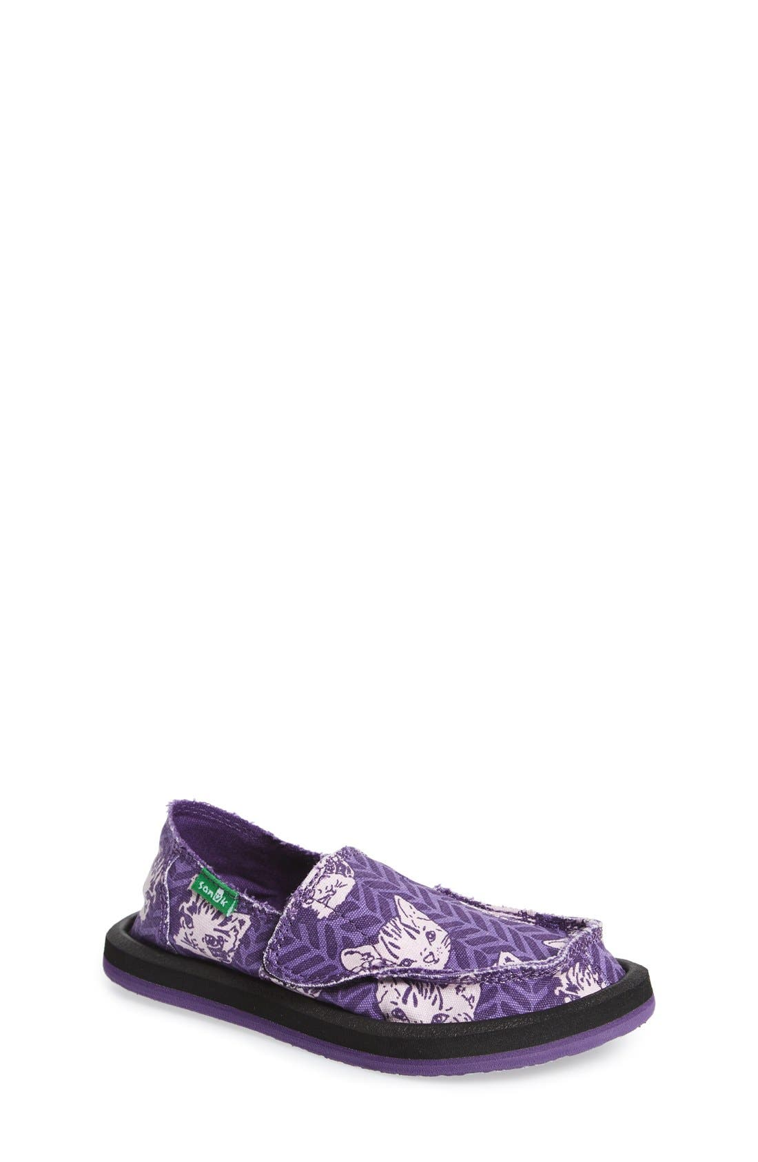 Sanuk 'Donna - Lil Icon' Cat Print Slip-On (Toddler, Little Kid & Big Kid)