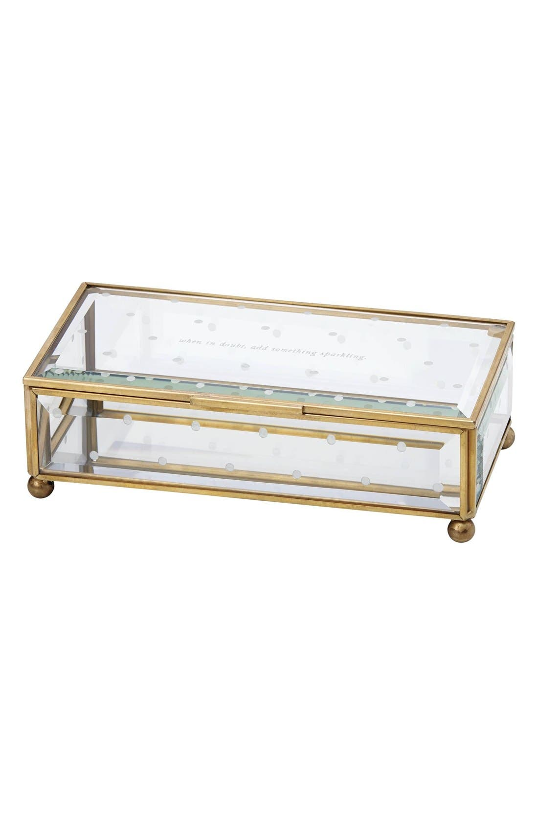 kate spade new york 'when in doubt, add something sparkling' glass jewelry box