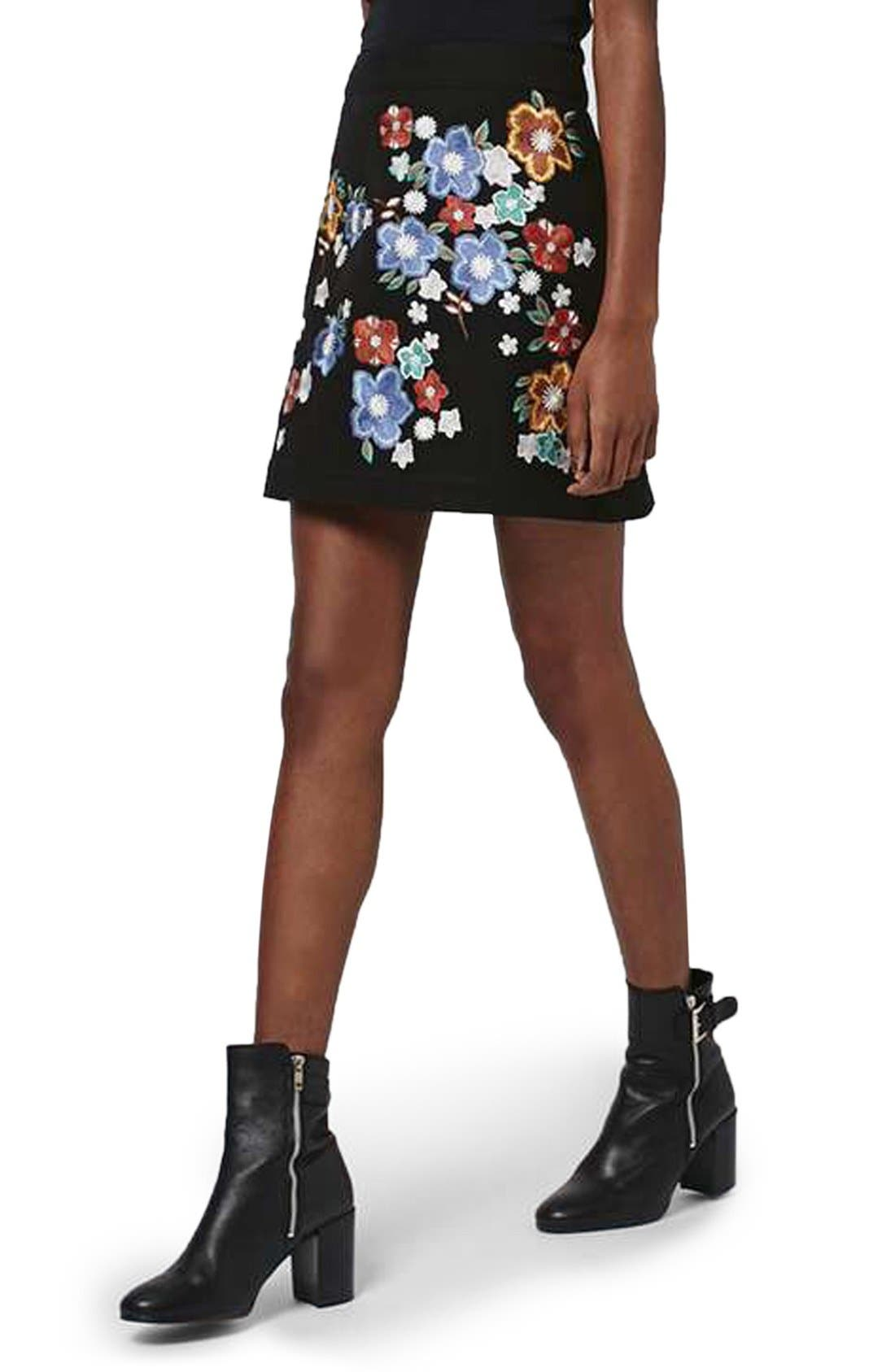 Main Image - Topshop 'Star Flower' Embroidered Miniskirt