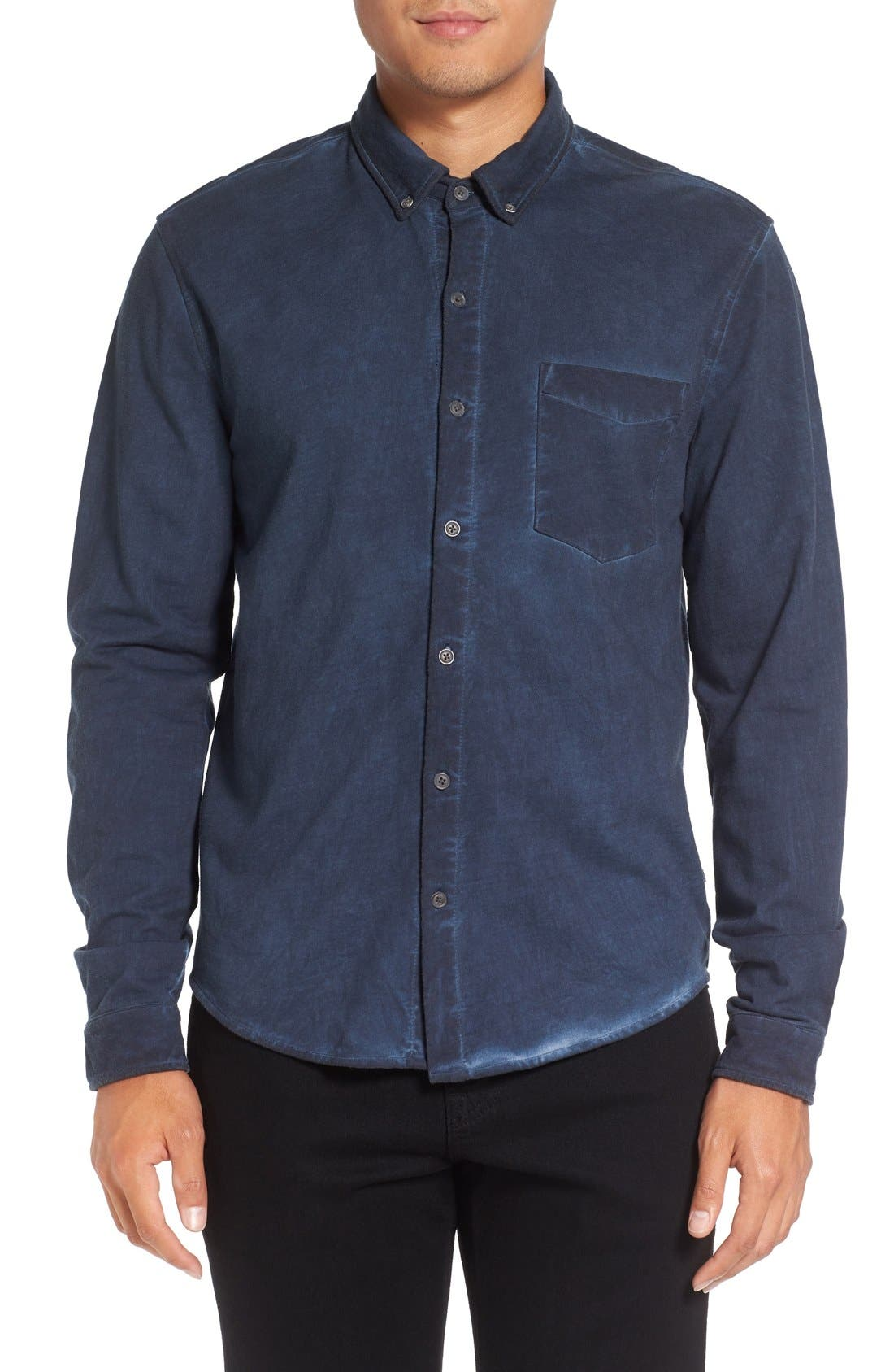 MICHAEL STARS Slim Fit Garment Washed Sport Shirt