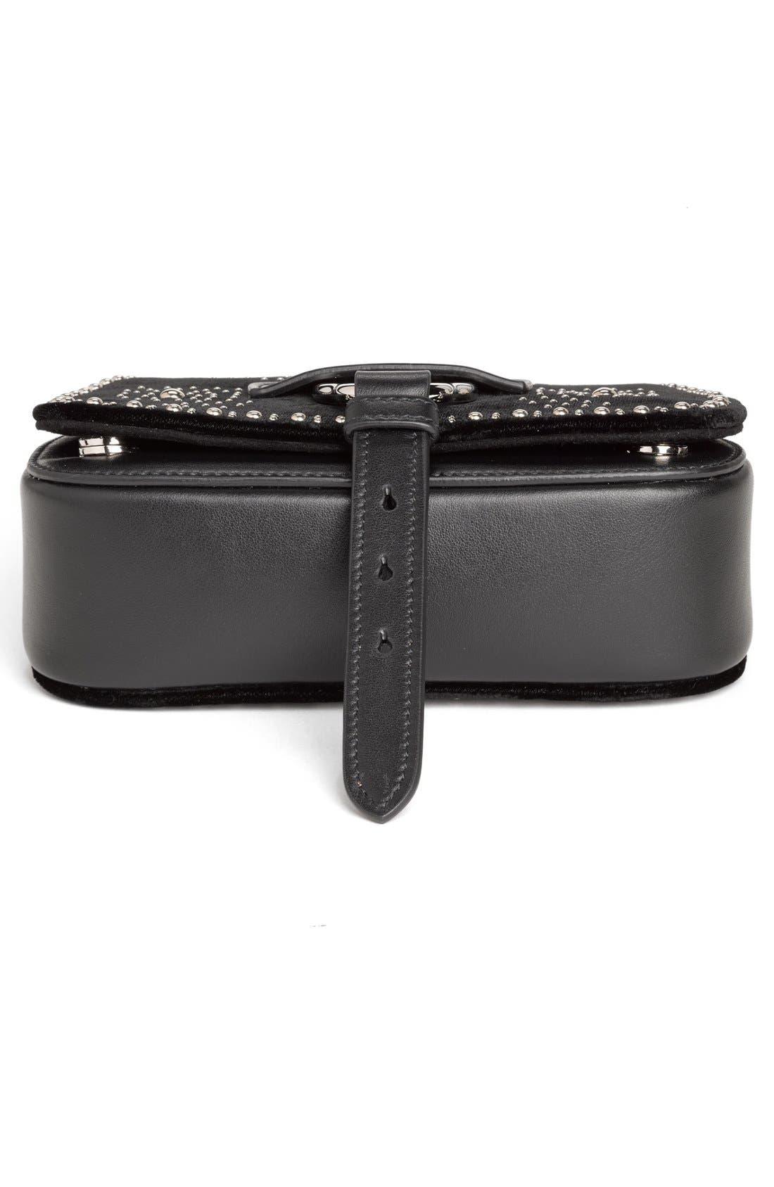 Alternate Image 6  - Miu Miu 'Small Dahlia' Velvet & Calfskin Leather Saddle Bag