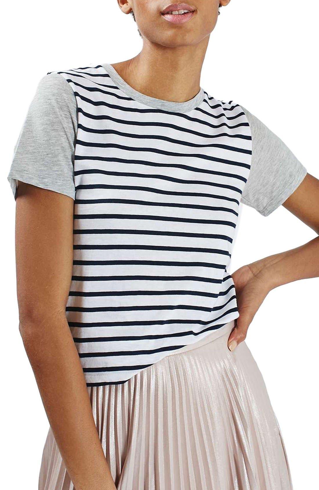 Alternate Image 1 Selected - Topshop Colorblock Stripe Tee