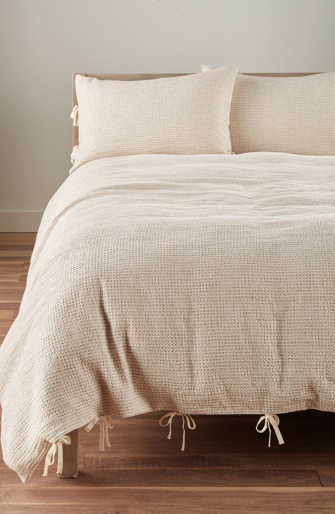 Alternate Image 1 Selected - Nordstrom at Home Waffle Knit Washed Cotton & Linen Duvet Cover