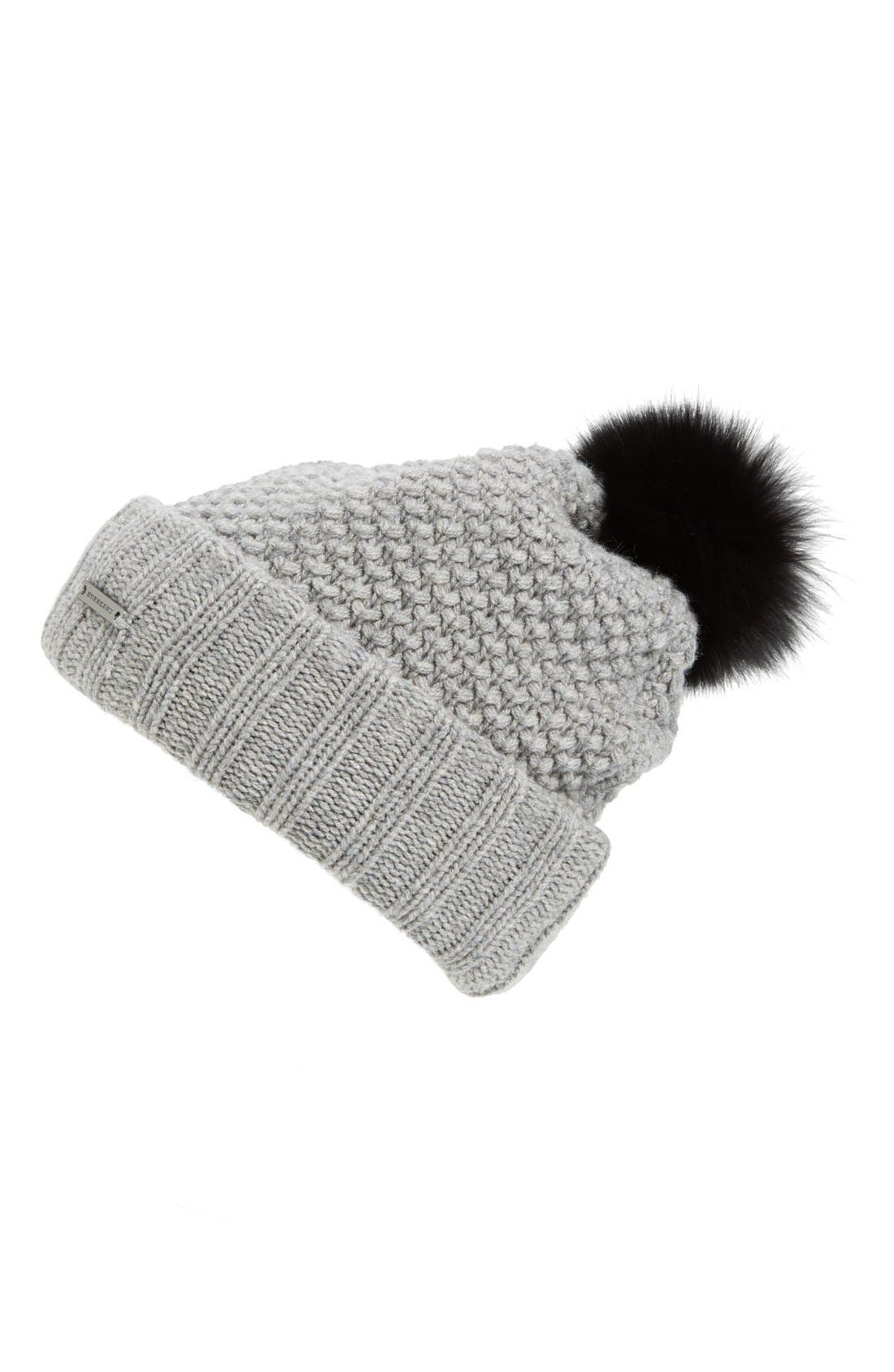 Alternate Image 1 Selected - Burberry Wool & Cashmere Beanie with Genuine Fox Fur Pom