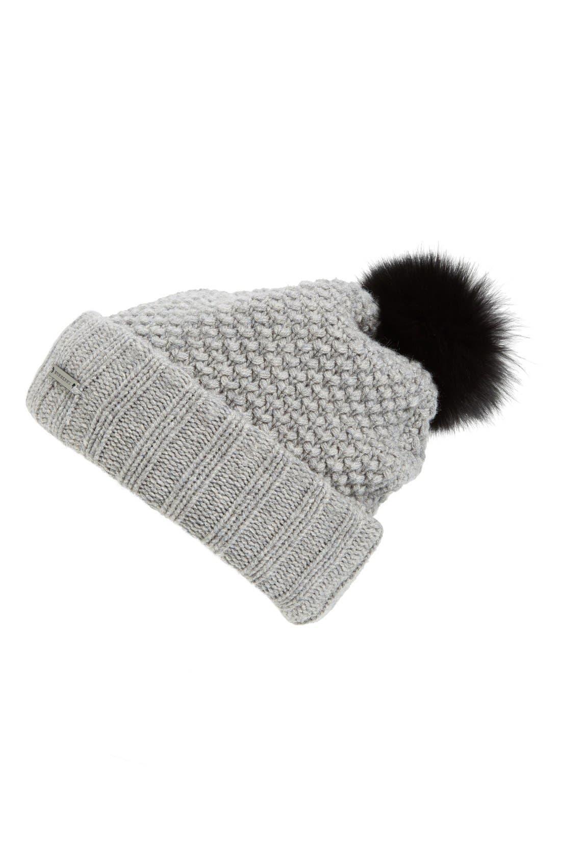 Main Image - Burberry Wool & Cashmere Beanie with Genuine Fox Fur Pom
