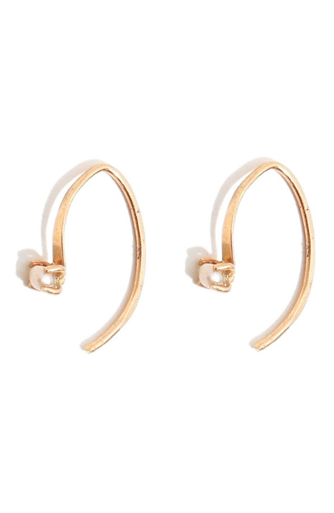MELISSA JOY MANNING 'Mini Wishbone' Pearl Hoop Earrings