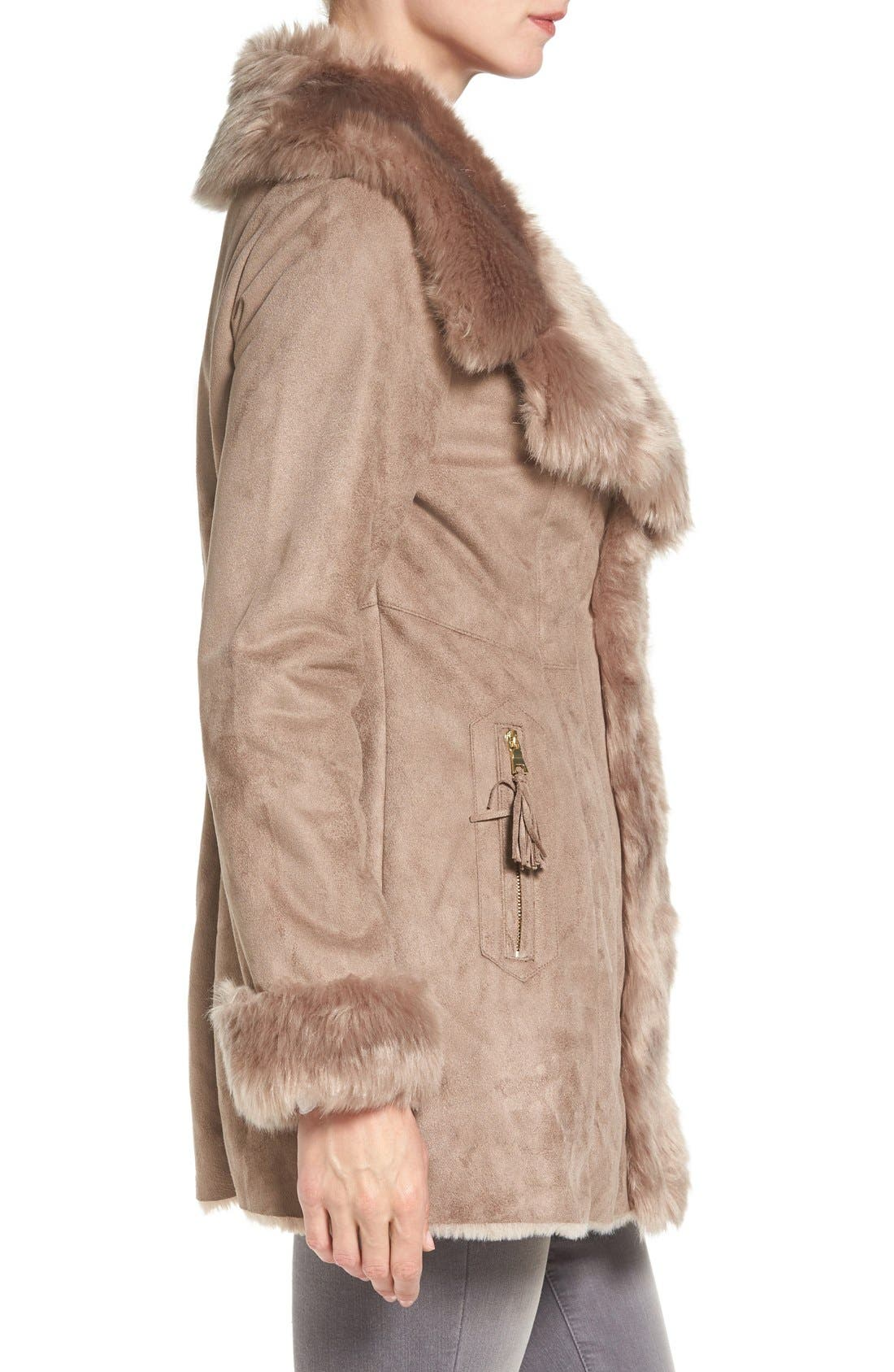 Alternate Image 3  - Via Spiga Faux Shearling Coat