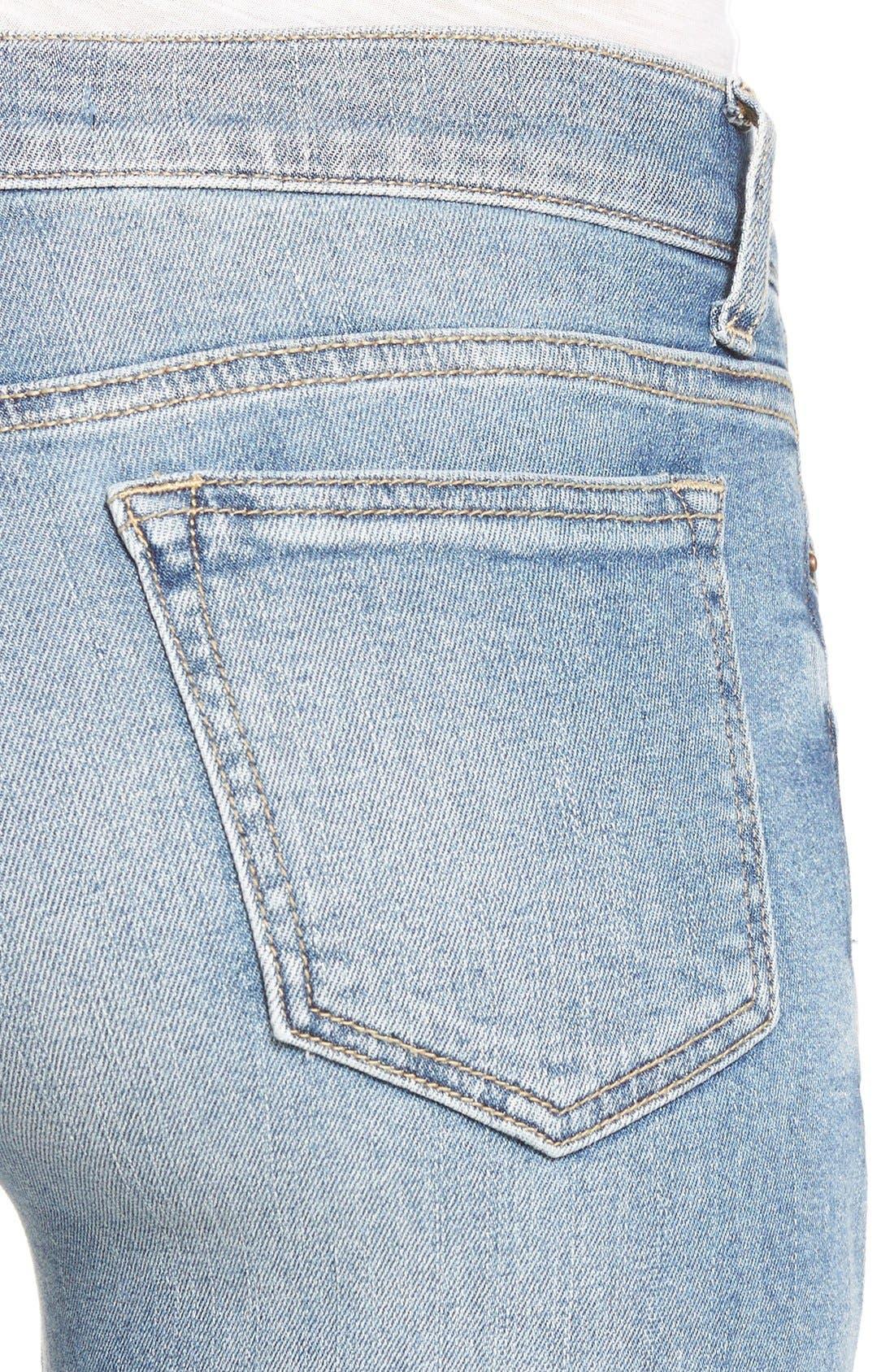 Alternate Image 4  - SP Black Distressed Cuffed Skinny Jeans