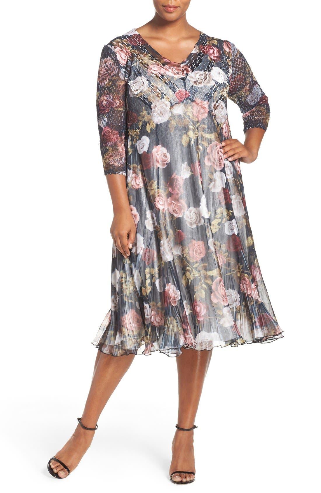 KOMAROV Print Three-Quarter Sleeve Chiffon A-Line Dress