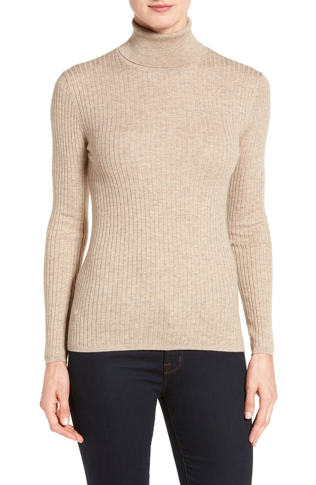 Alternate Image 1 Selected - Classiques Entier® Ribbed Turtleneck Sweater (Regular & Petite)