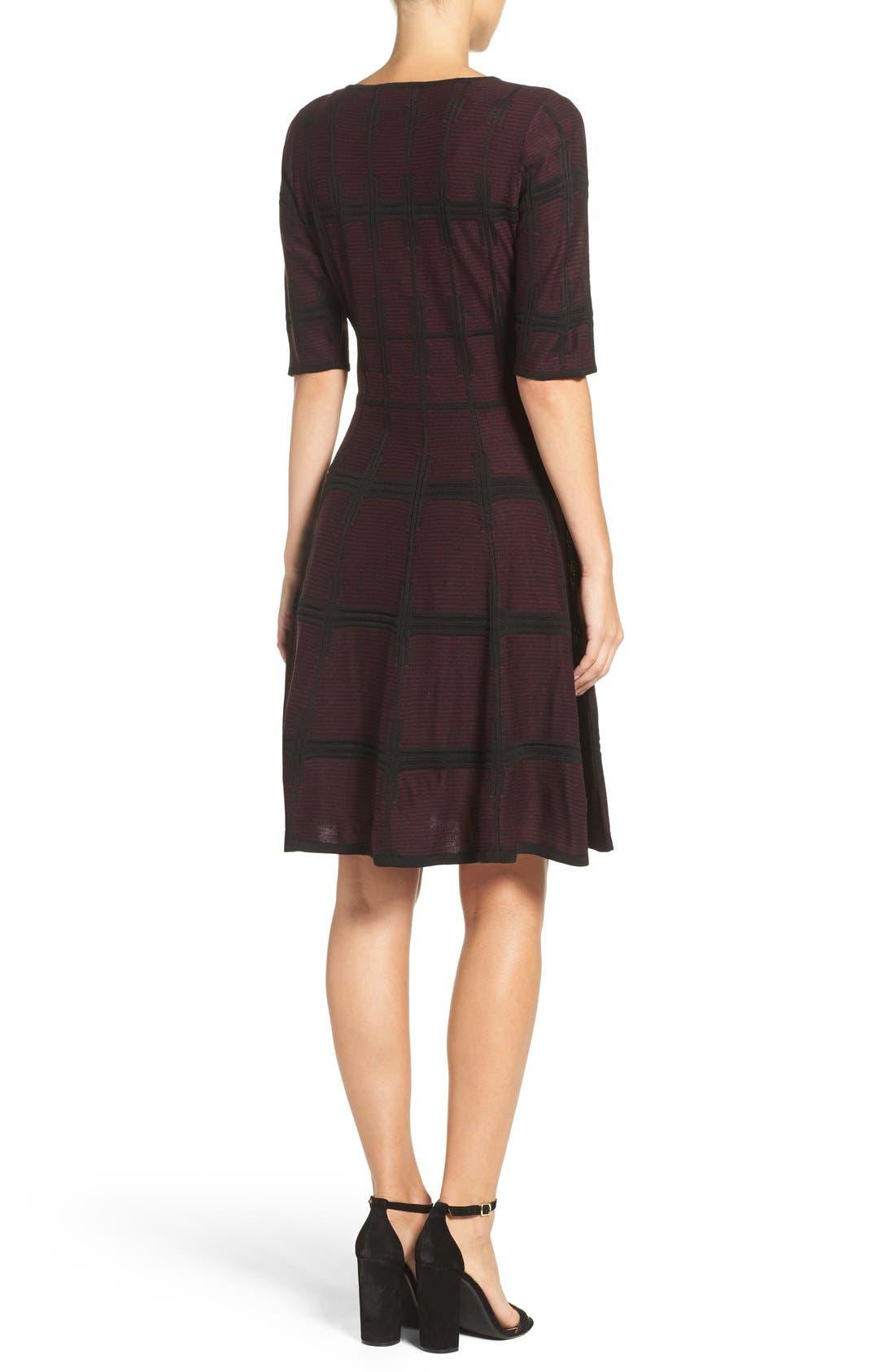 Alternate Image 2  - Ivanka Trump Plaid Sweater Knit Fit & Flare Dress