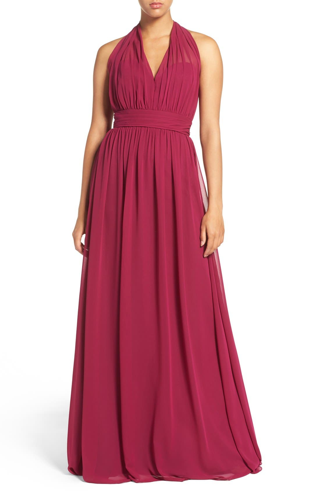 Alternate Image 1 Selected - Hayley Paige Occasions Ruched Waist Chiffon Halter Gown