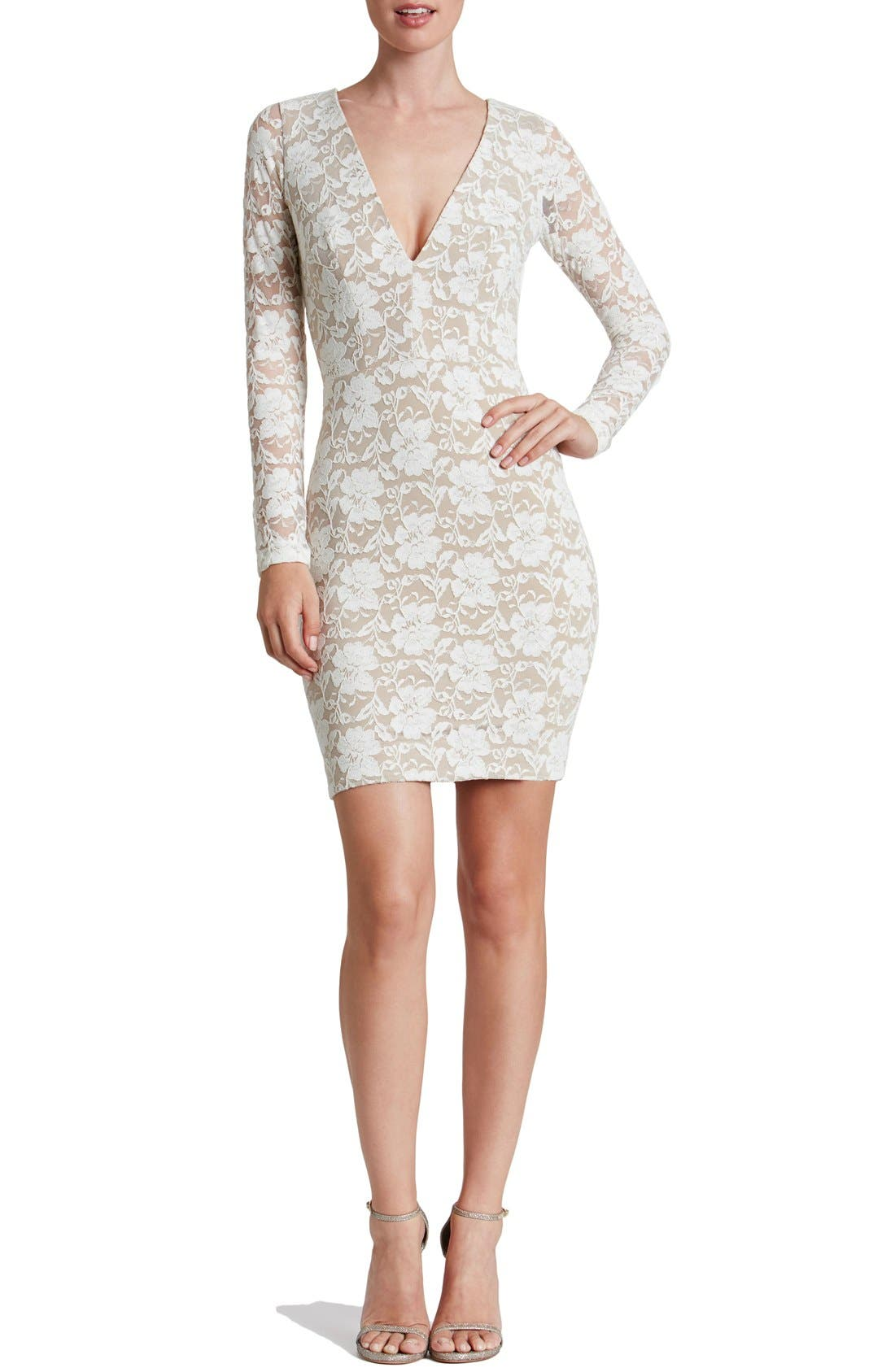 Alternate Image 4  - Dress the Population 'Erica' Plunge Neck Lace Body-Con Dress