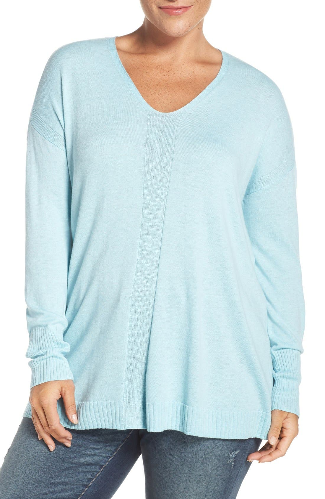 Alternate Image 1 Selected - Sejour V-Neck Sweater (Plus Size)