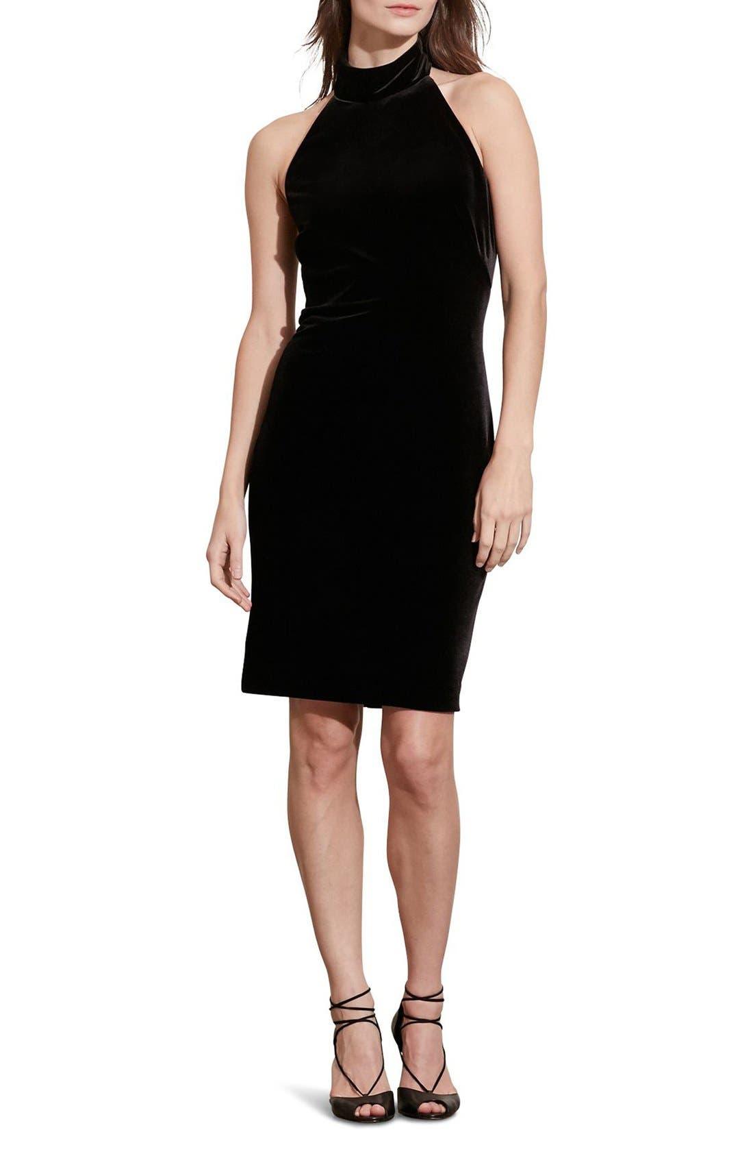 Alternate Image 1 Selected - Lauren Ralph Lauren Velvet Halter Dress