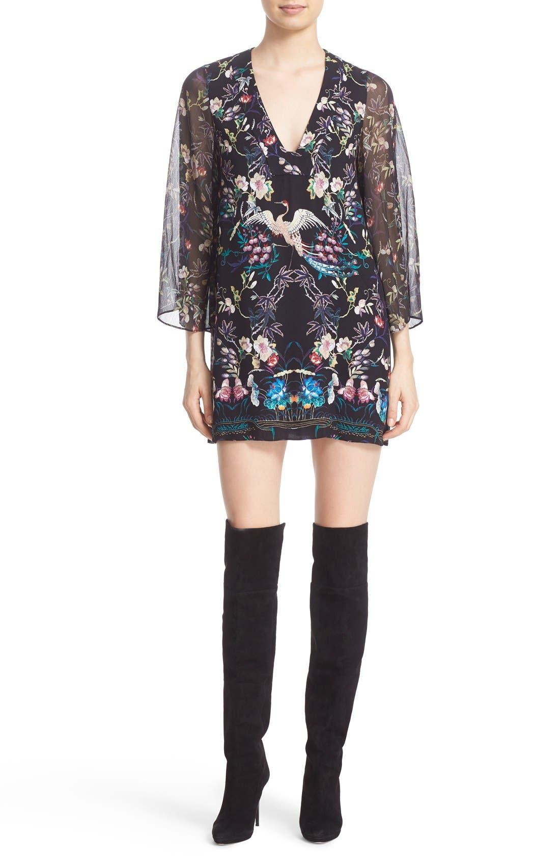 Alternate Image 1 Selected - Alice + Olivia 'Zia' Print Mini Caftan Dress