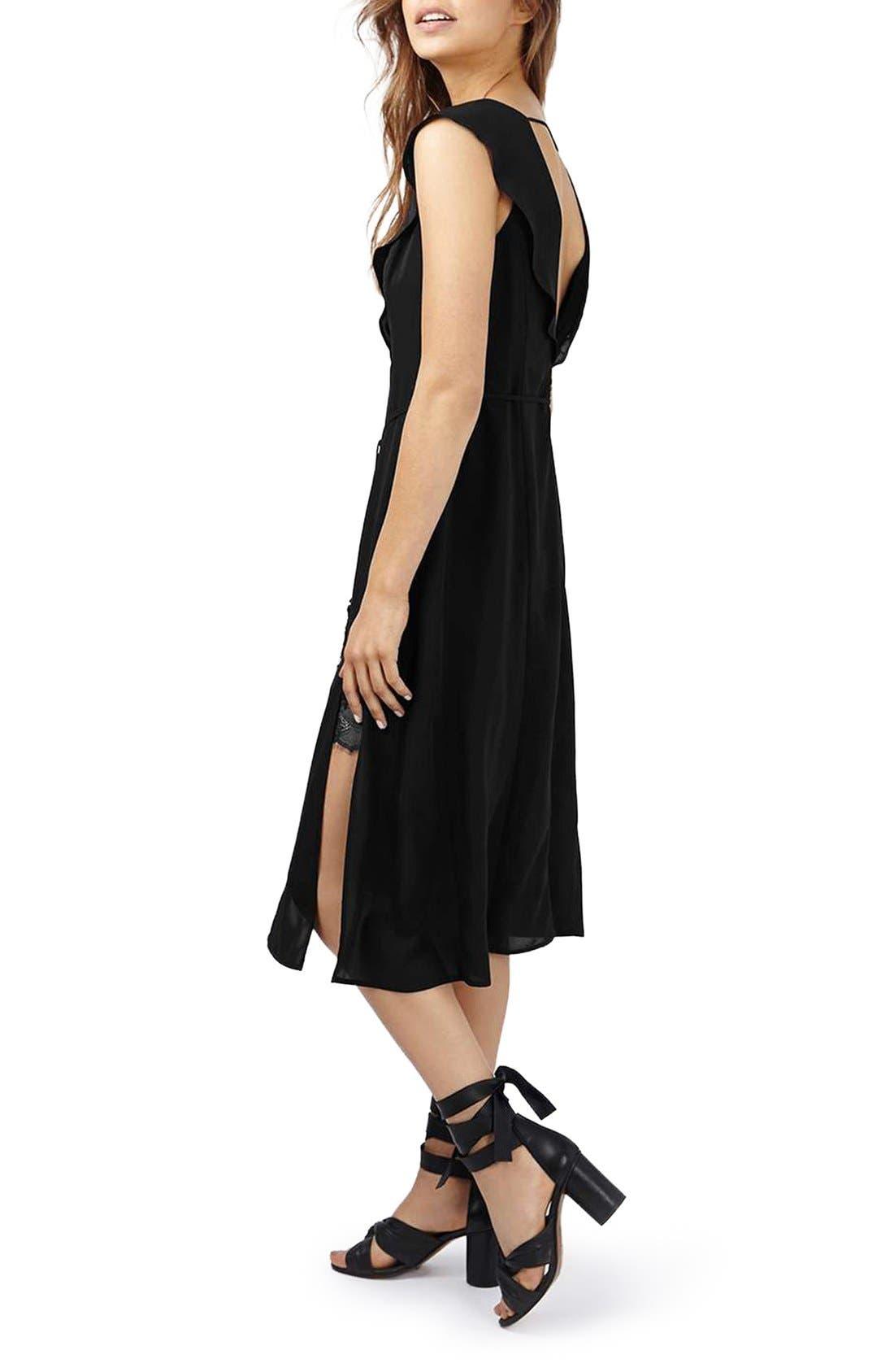 Alternate Image 2  - Topshop Lace Trim Flutter Sleeve Midi Dress