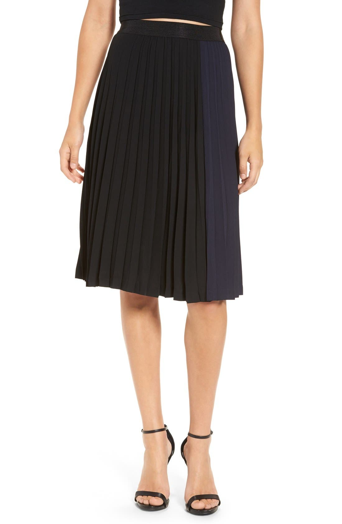 Main Image - Leith Colorblock Pleated Midi Skirt
