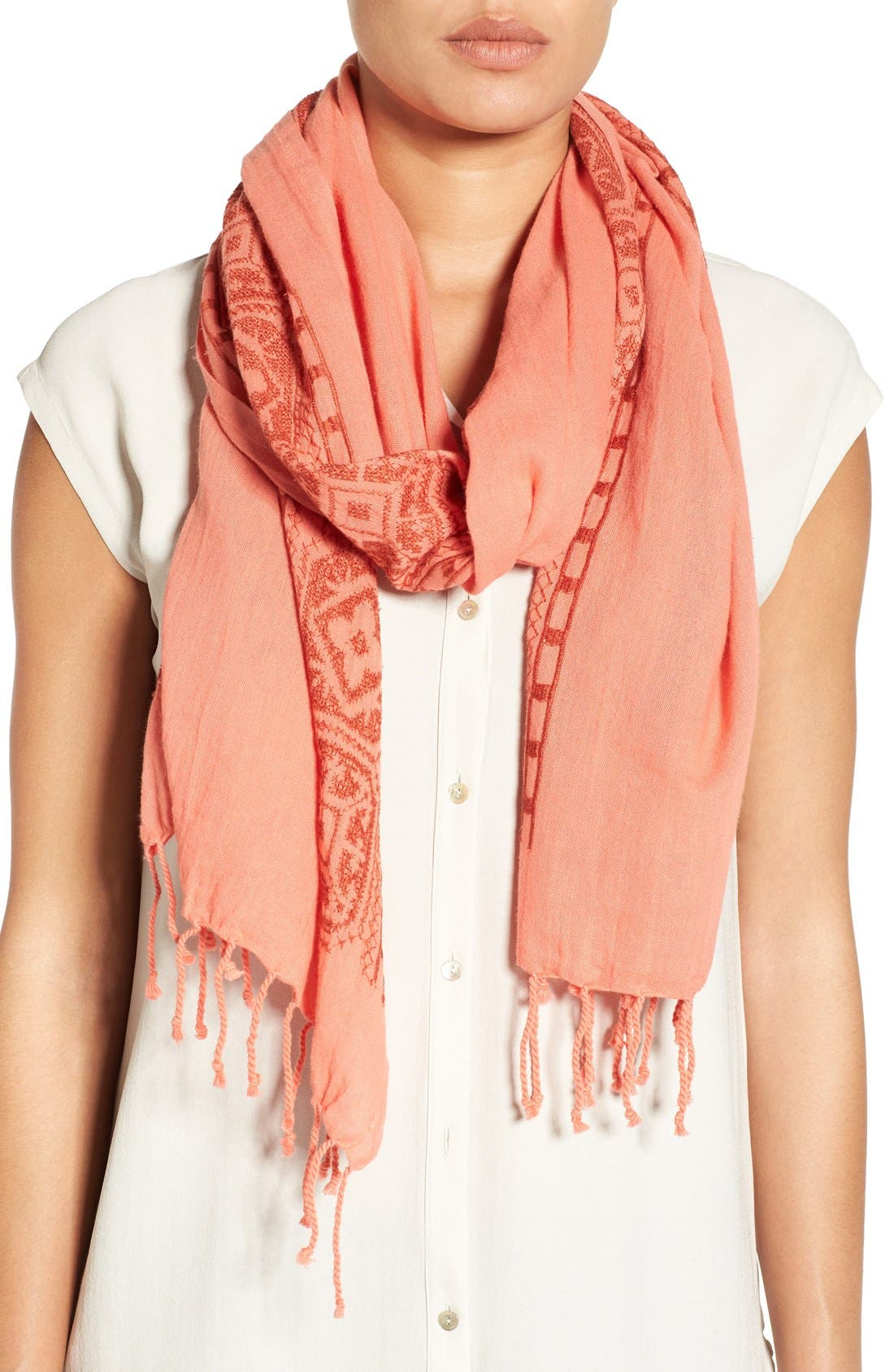 Main Image - Eileen Fisher Embroidered Organic Cotton Scarf